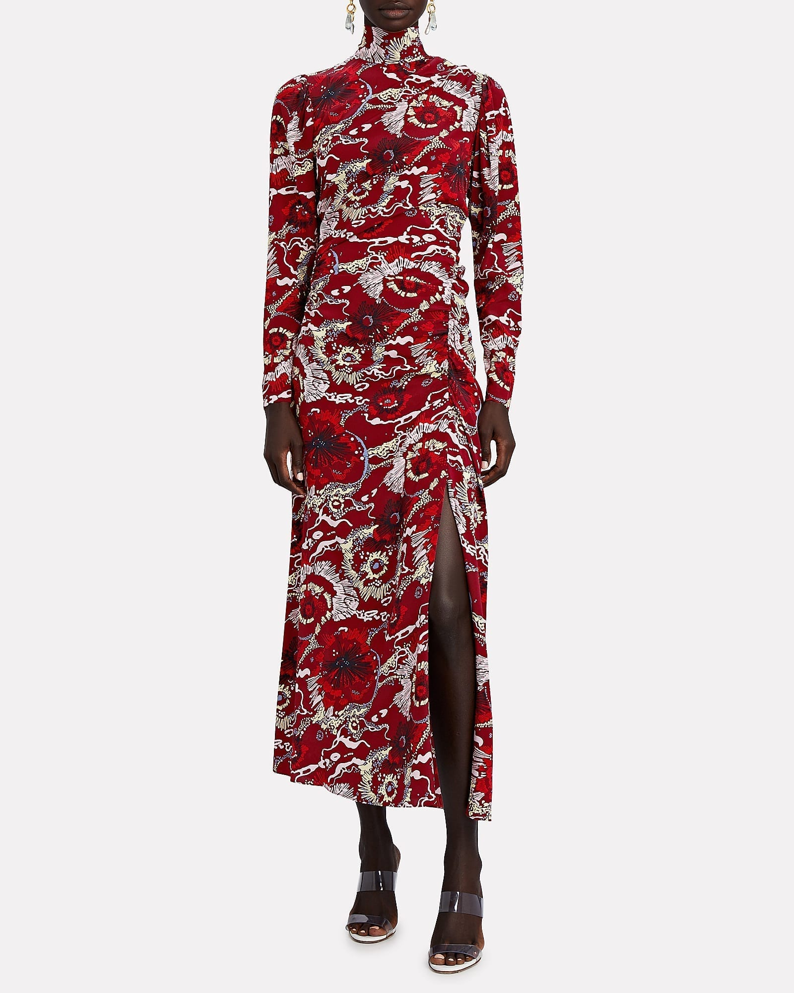 A.L.C. Isabella Floral Silk High Neck Dress
