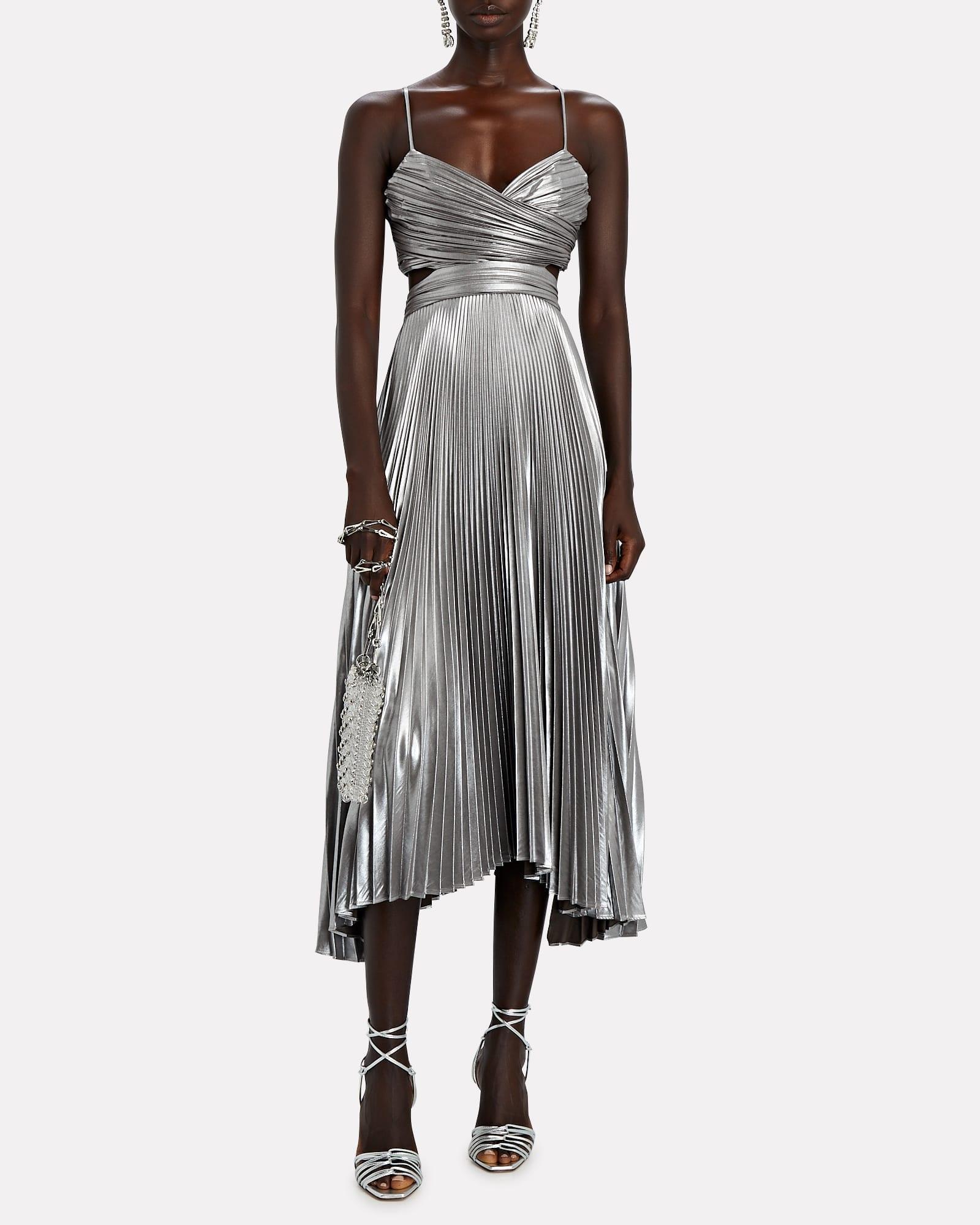 A.L.C. Pandora Pleated Metallic Midi Dress