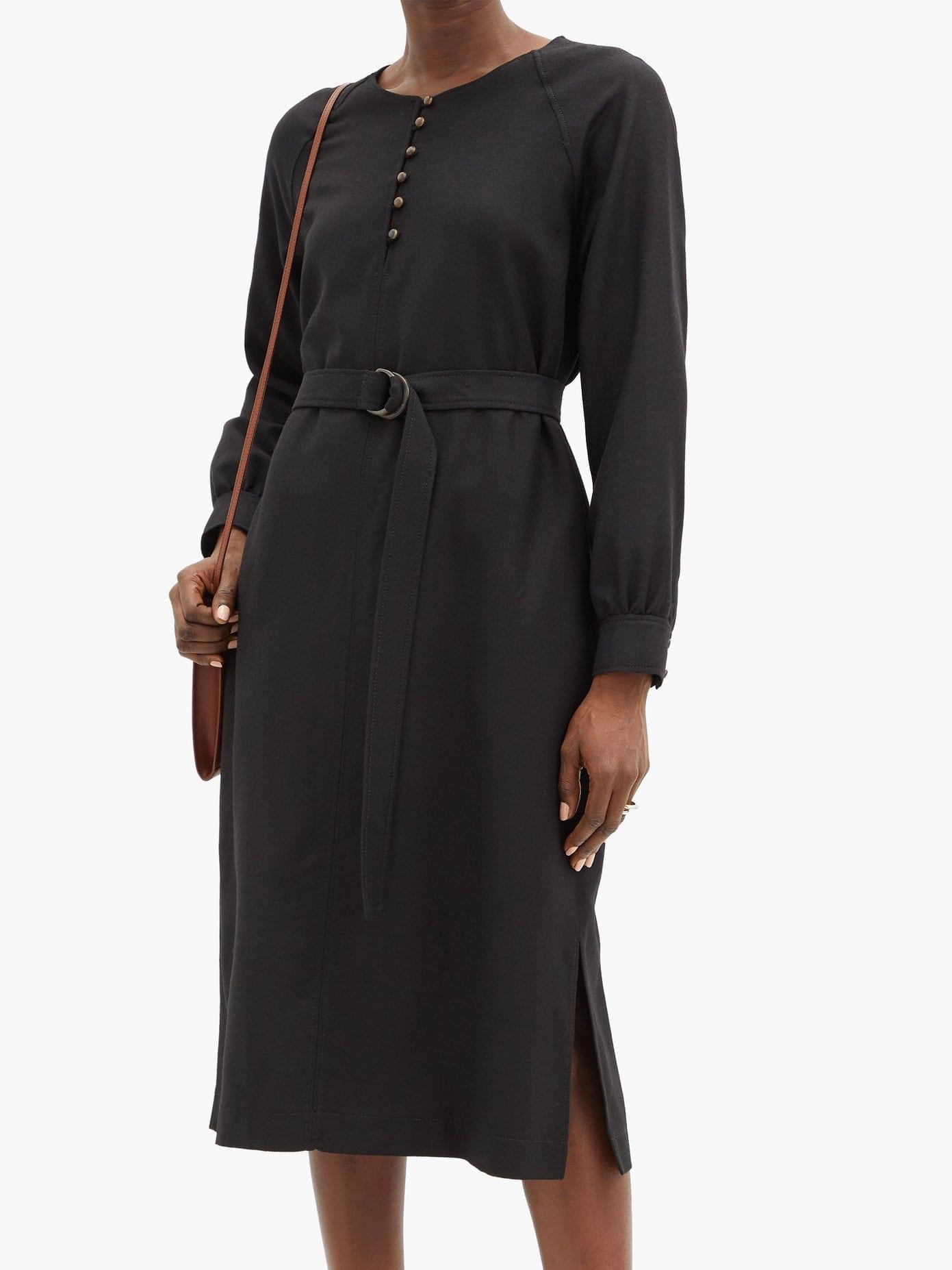 A.P.C. Nicolette Belted Wool-flannel Dress