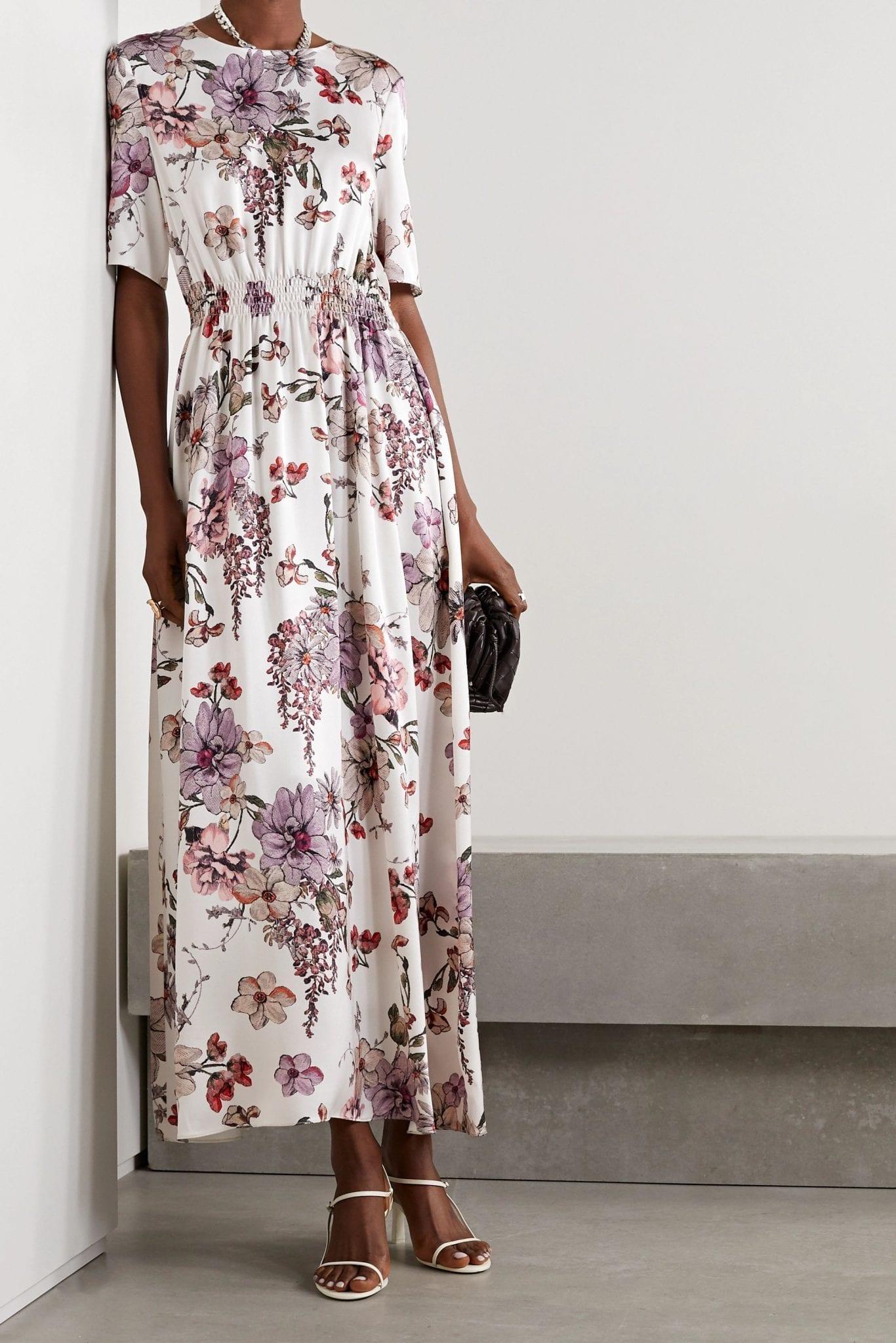 ADAM LIPPES Shirred Floral-print Silk-satin Maxi Dress