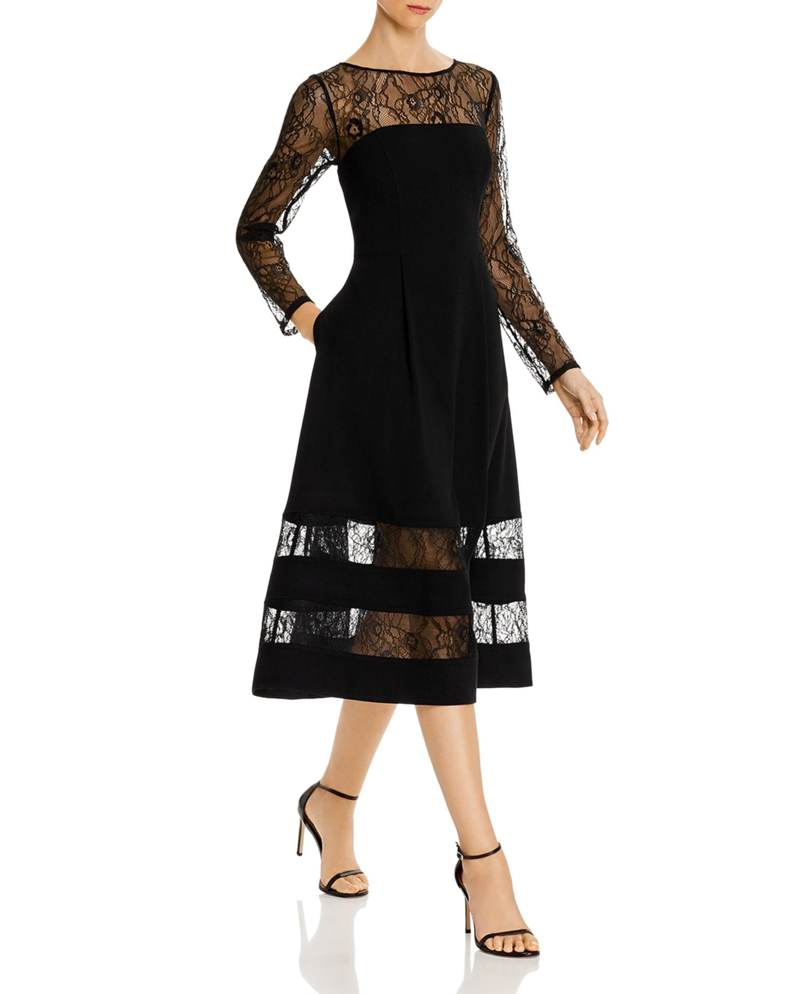 AIDAN BY AIDAN MATTOX Shadow Striped Crepe Midi Dress