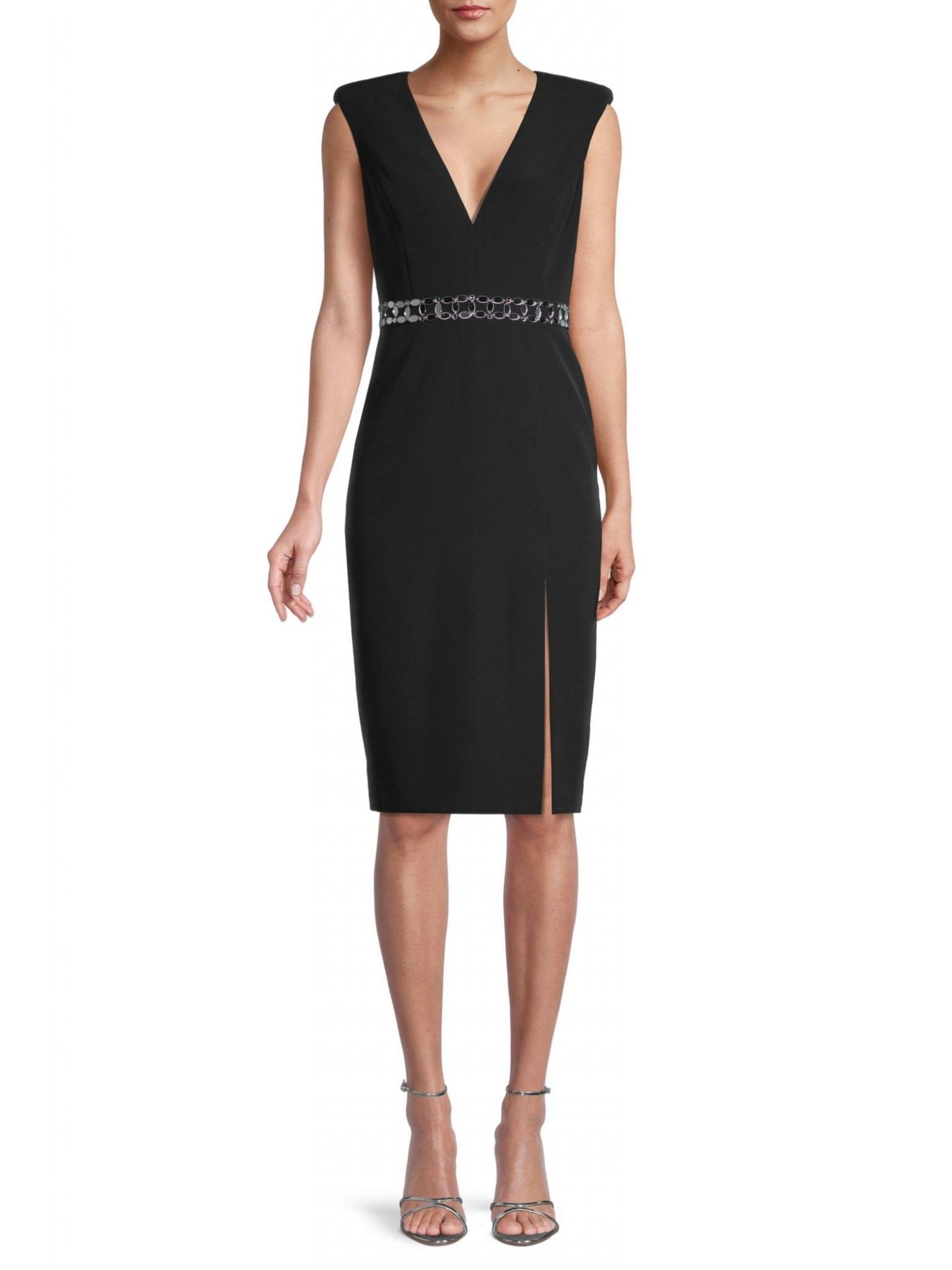 AIDAN BY AIDAN MATTOX V-Neck Cap-Sleeve Sheath Dress