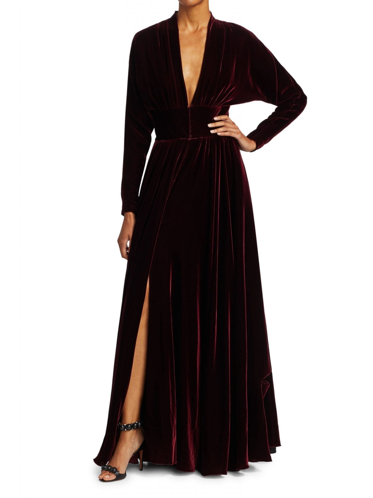 ALAÏA Deep V-Neck Velvet Pleated Gown