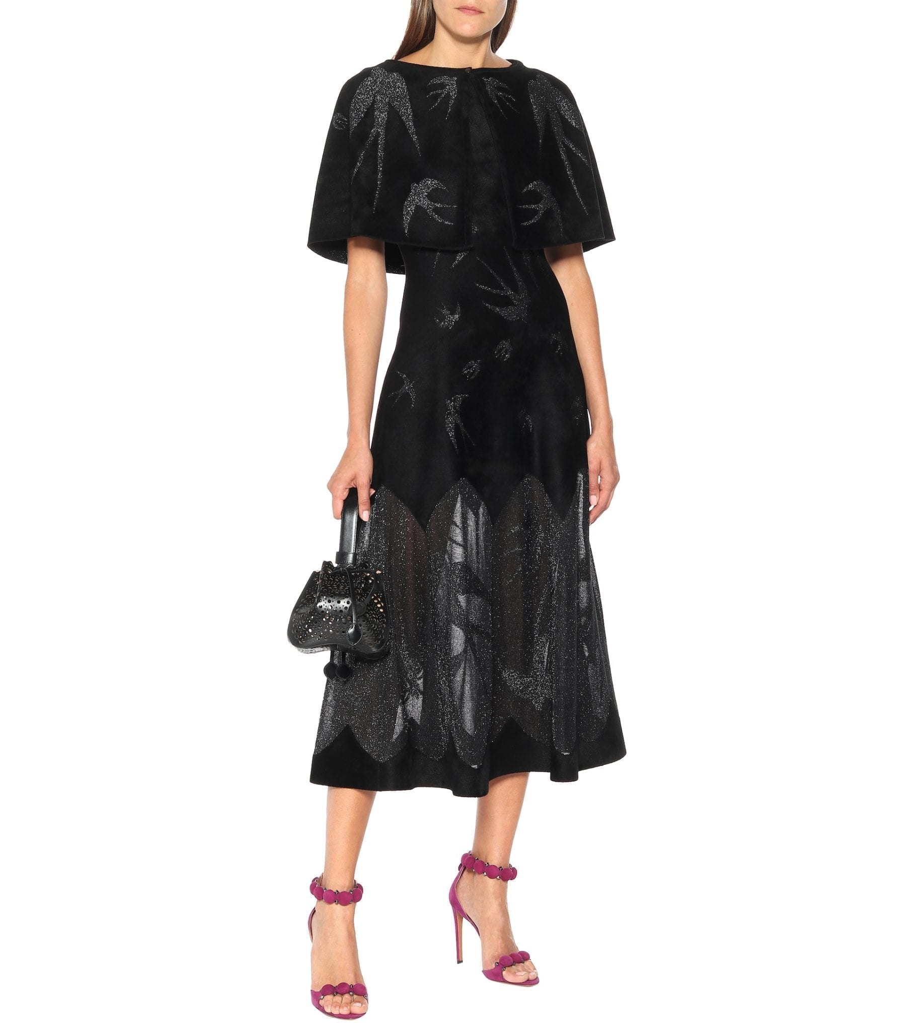 ALAÏA Sleeveless Velvet Midi Dress