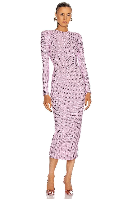 ALESSANDRA RICH Crystal Midi Dress