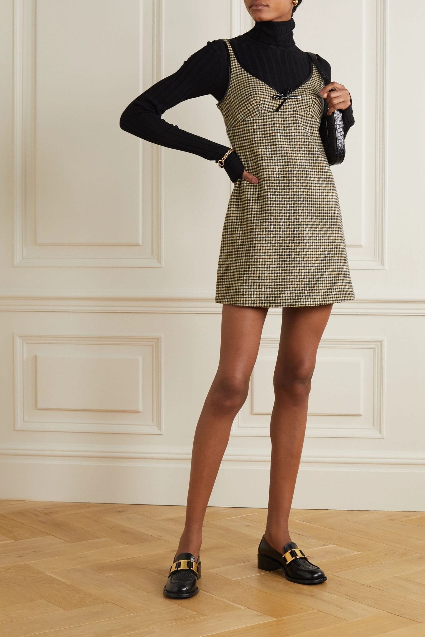 ALEXACHUNG Edwige Faux Patent Leather-trimmed Houndstooth Tweed Mini Dress