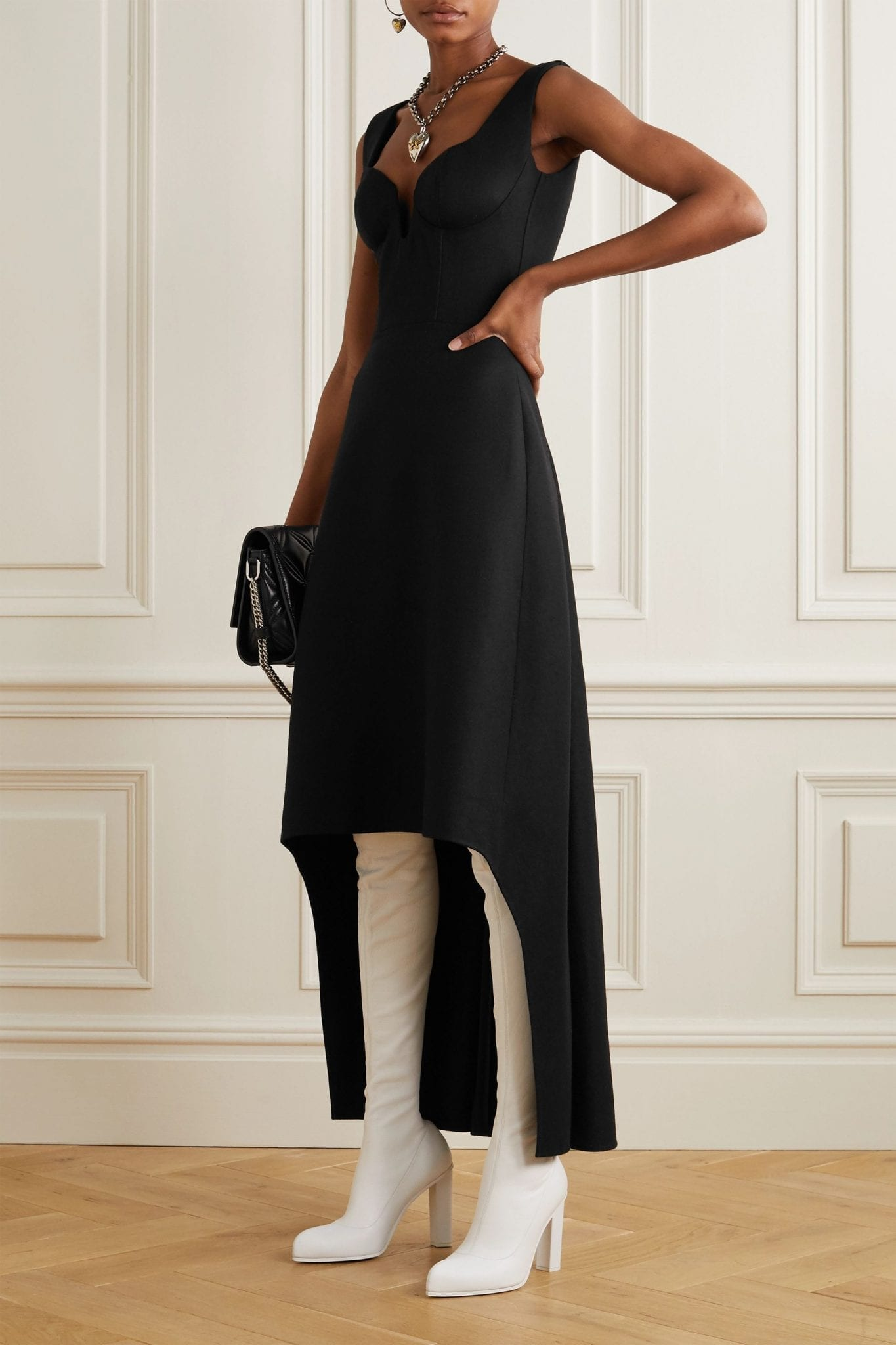 ALEXANDER MCQUEEN Asymmetric Wool Dress