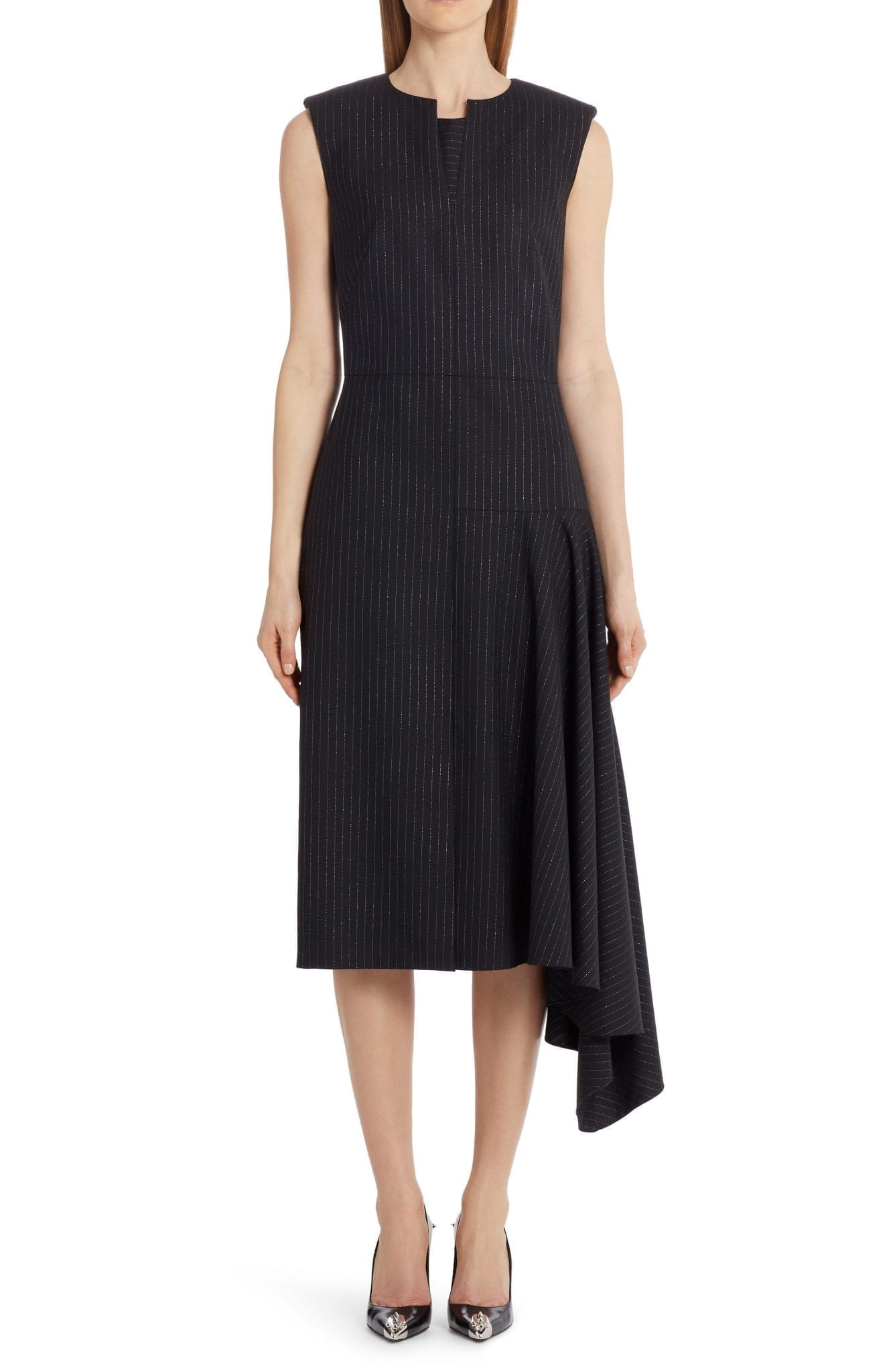 ALEXANDER MCQUEEN Side Drape Midi Dress