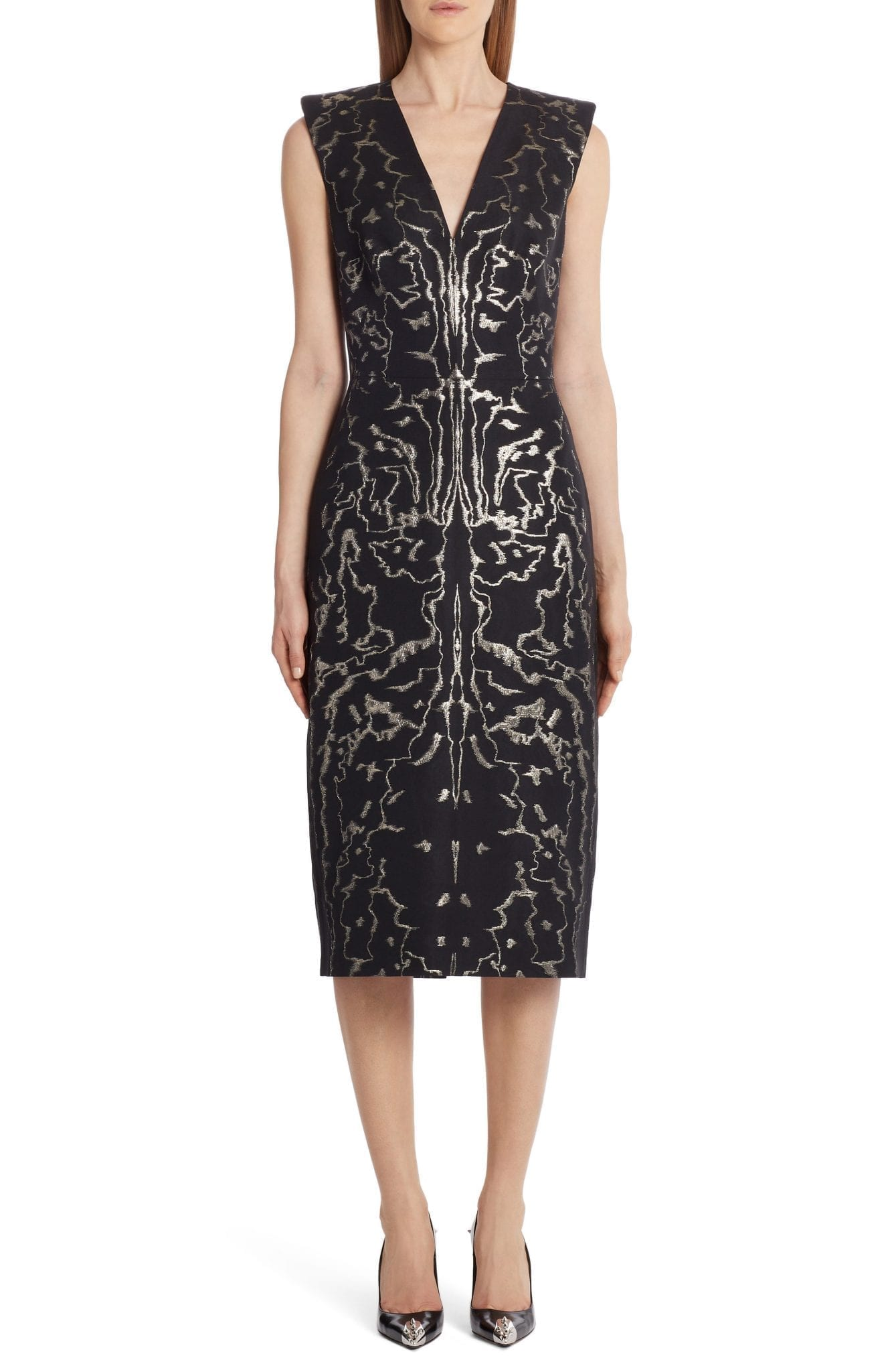 ALEXANDER MCQUEEN Sleeveless Jacquard Midi Sheath Dress