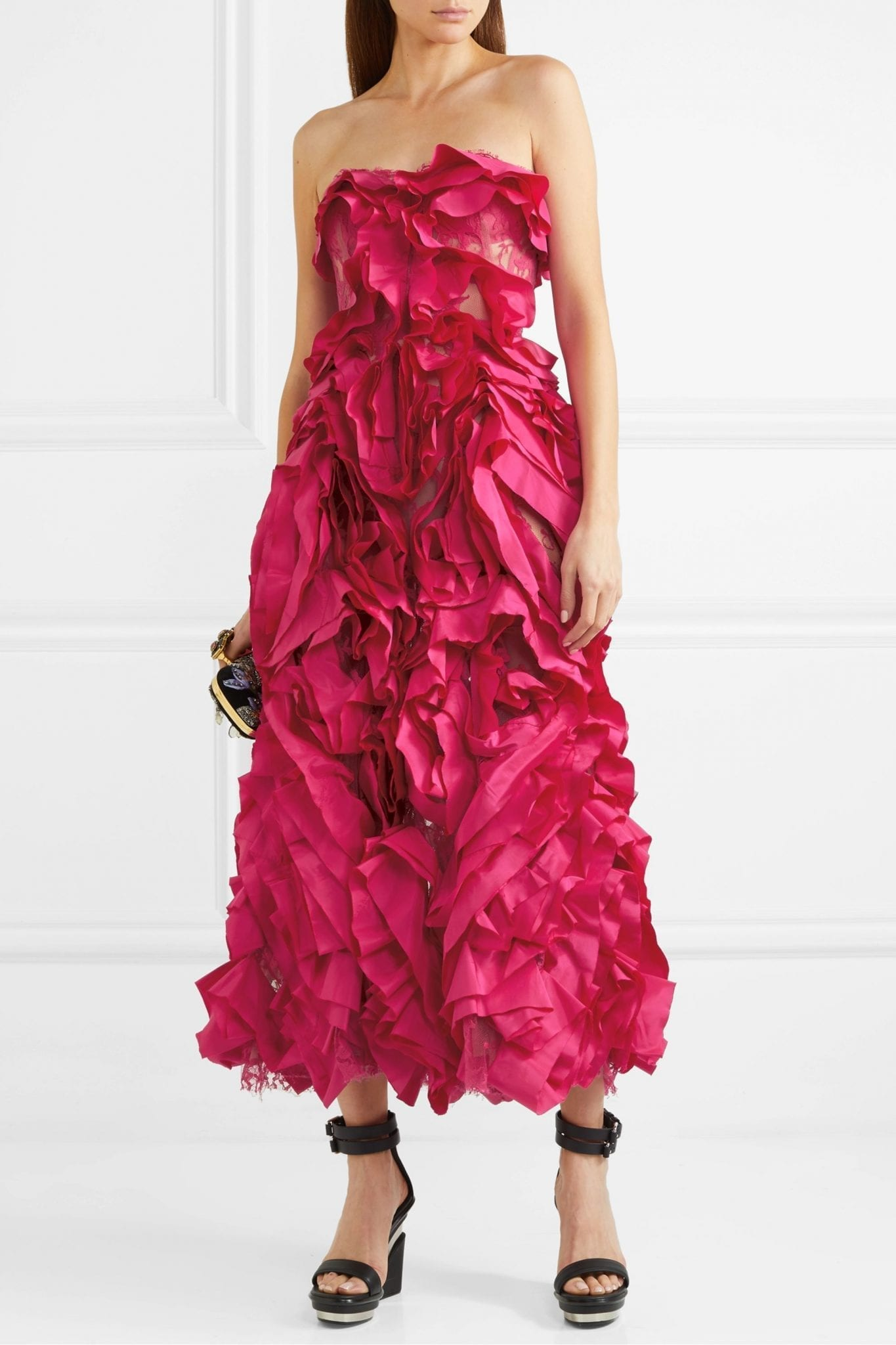 ALEXANDER MCQUEEN Strapless Ruffled Silk-taffeta And Cotton-blend Lace Gown