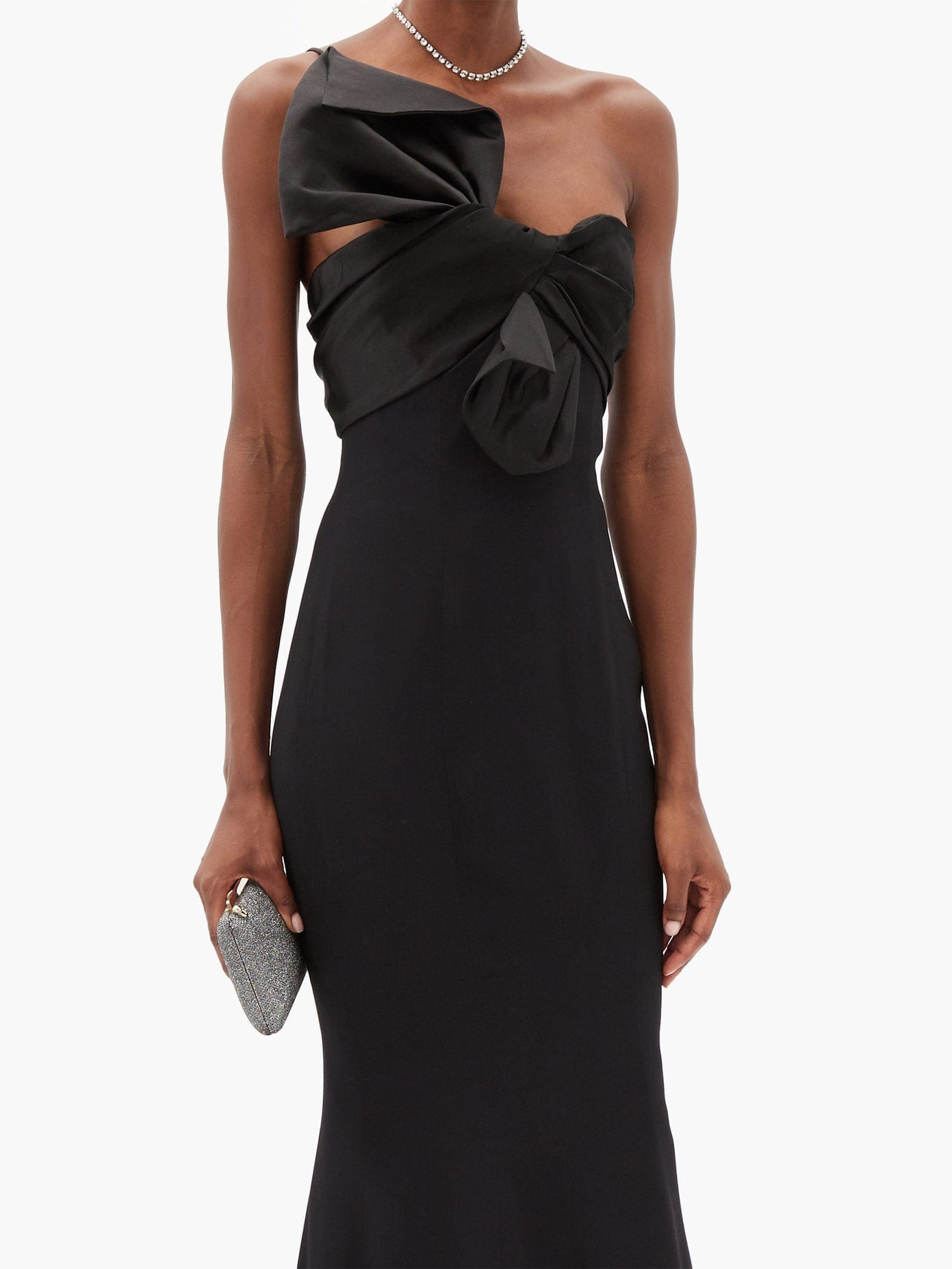 ALEXANDRE VAUTHIER Bow-front One-shoulder Satin-crepe Dress
