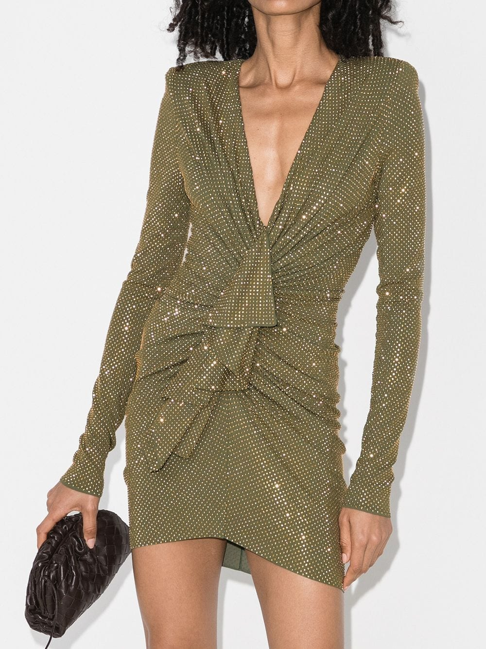 ALEXANDRE VAUTHIER Deep V-neck Gemstone Mini Dress