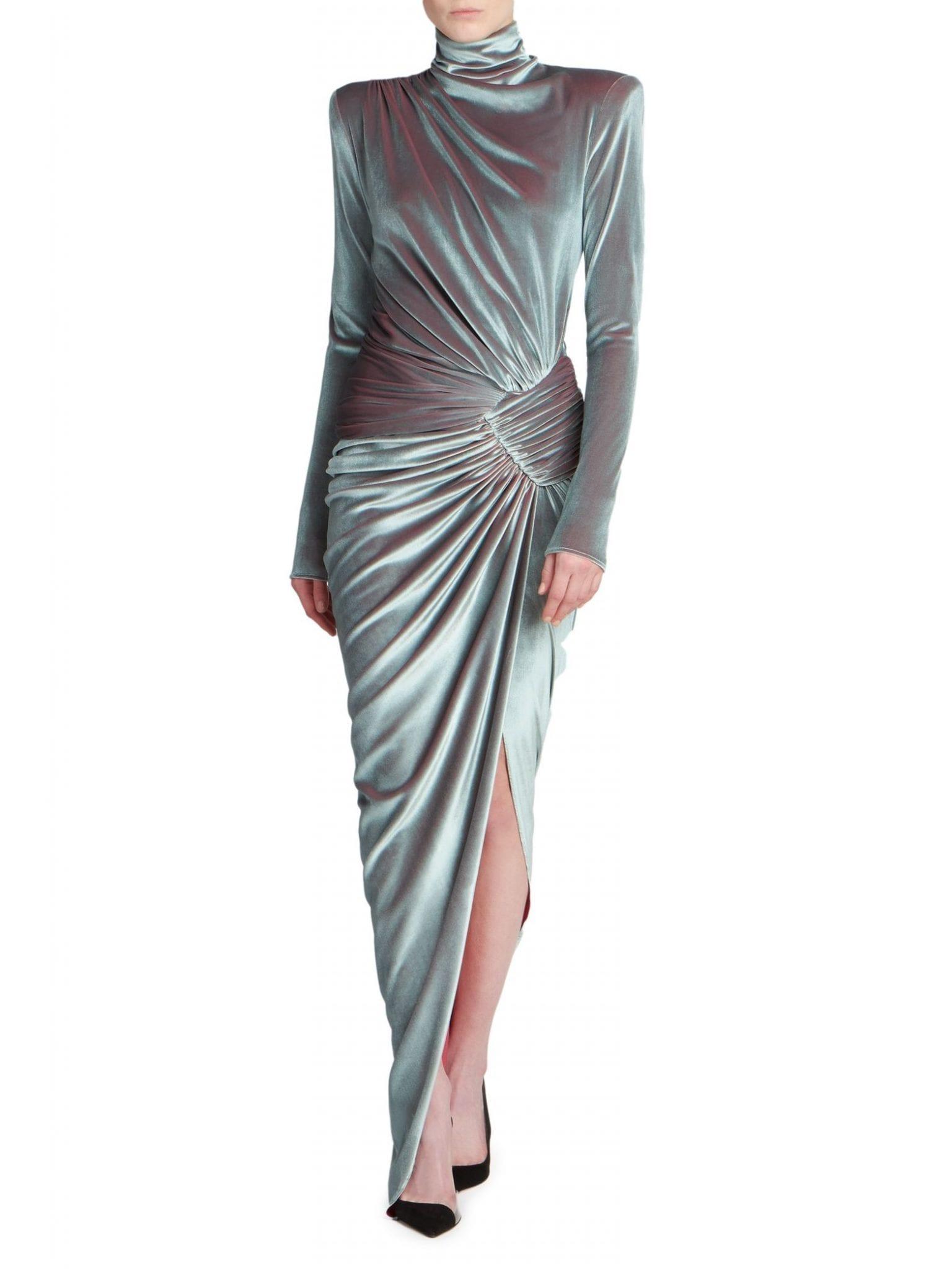 ALEXANDRE VAUTHIER Draped Velvet Mockneck Gown