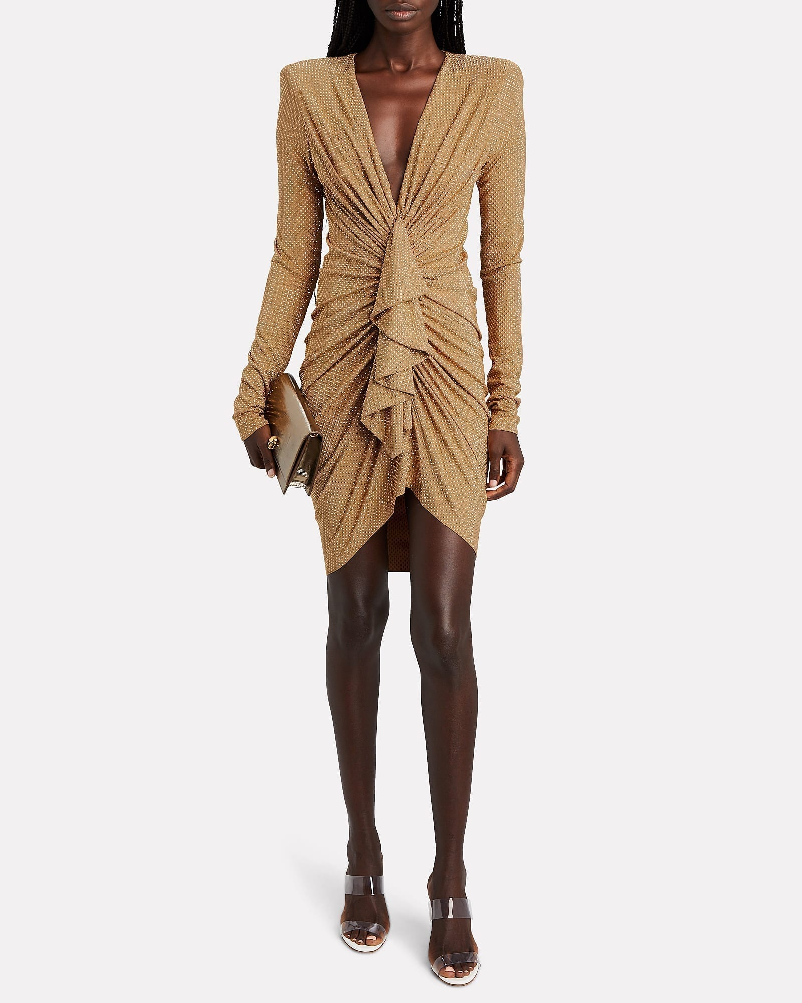 ALEXANDRE VAUTHIER Ruffled Crystal Jersey Mini Dress