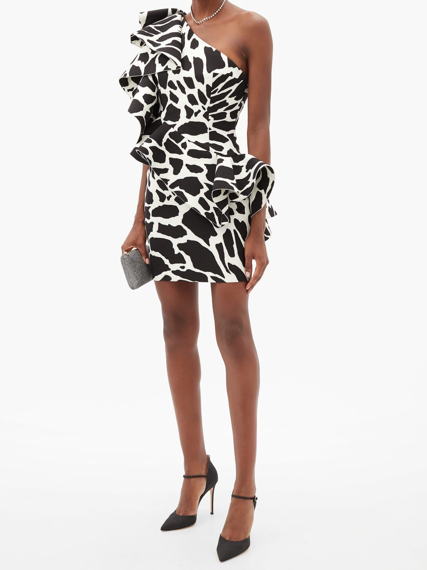 ALEXANDRE VAUTHIER Ruffled One-shoulder Giraffe-print Mini Dress