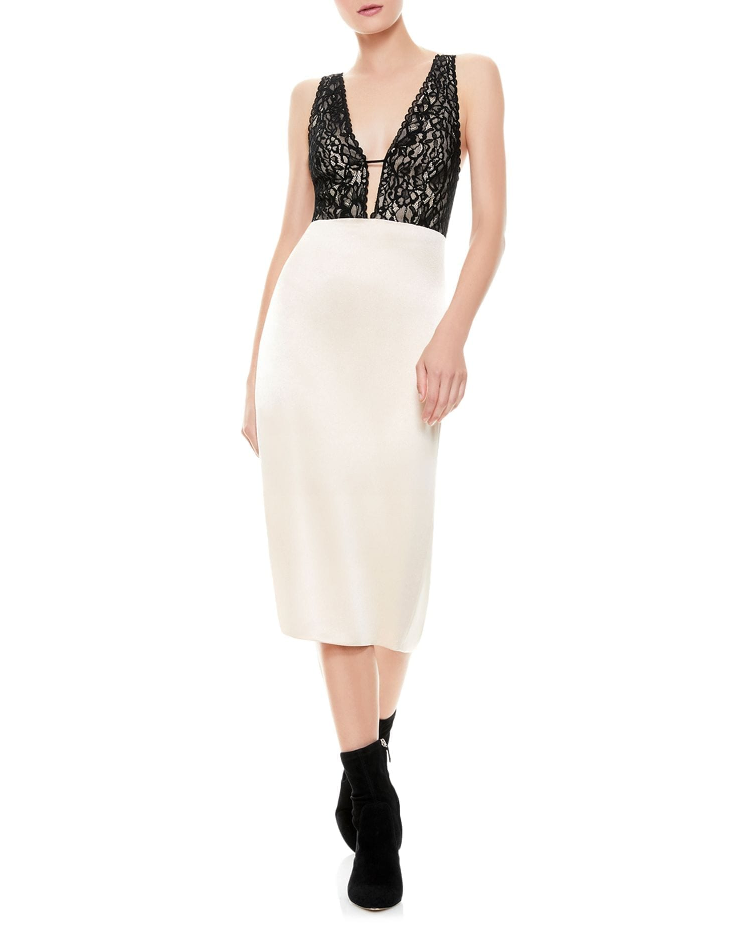 ALICE AND OLIVIA Vanita Lace Bodice Bodycon Midi Dress