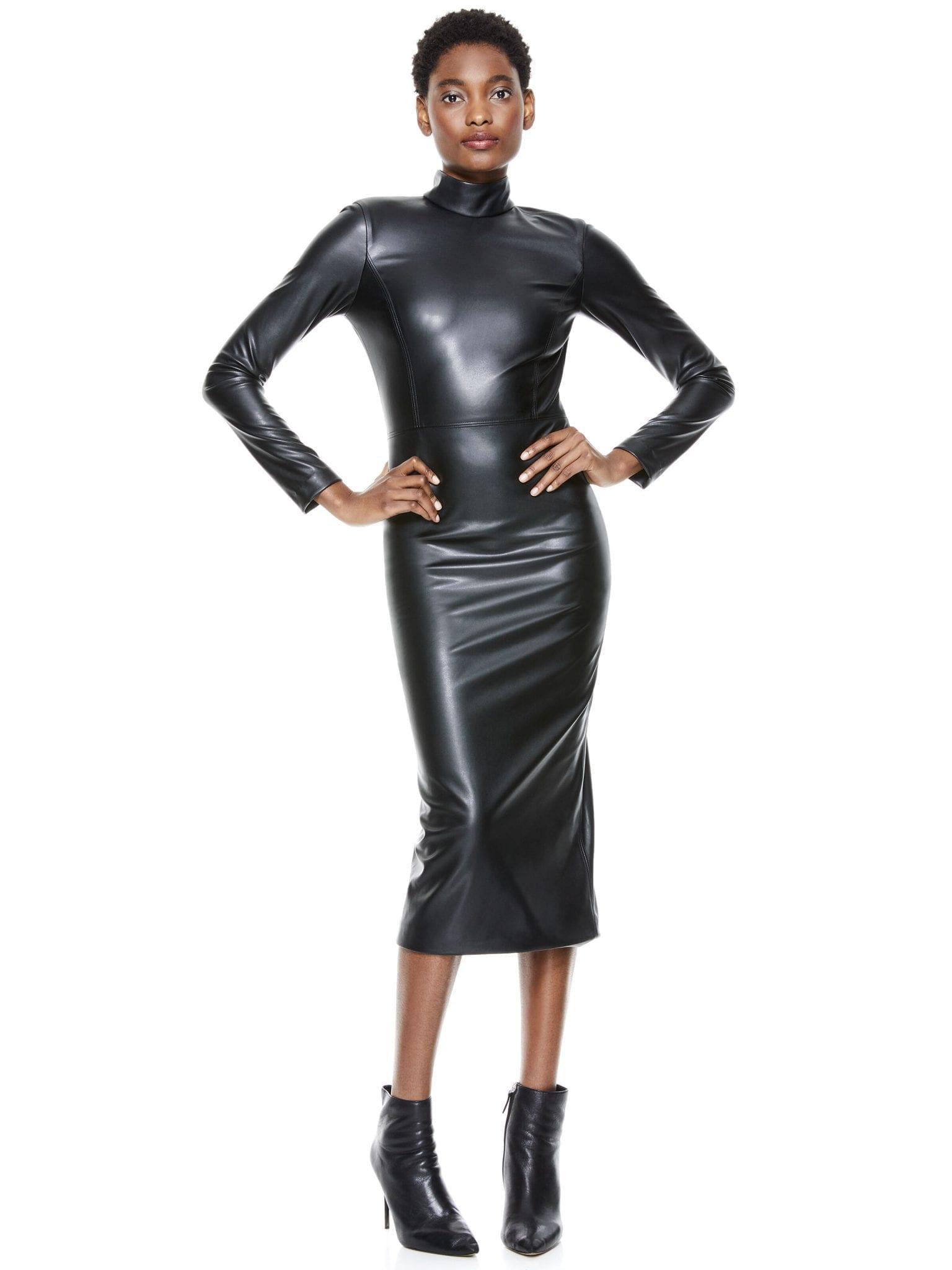 ALICE + OLIVIA Delora Vegan Leather Midi Dress