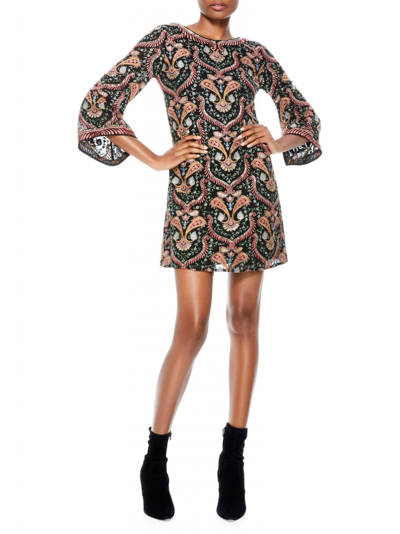 ALICE + OLIVIA Eleonora Embroidered Poet-Sleeve Dress