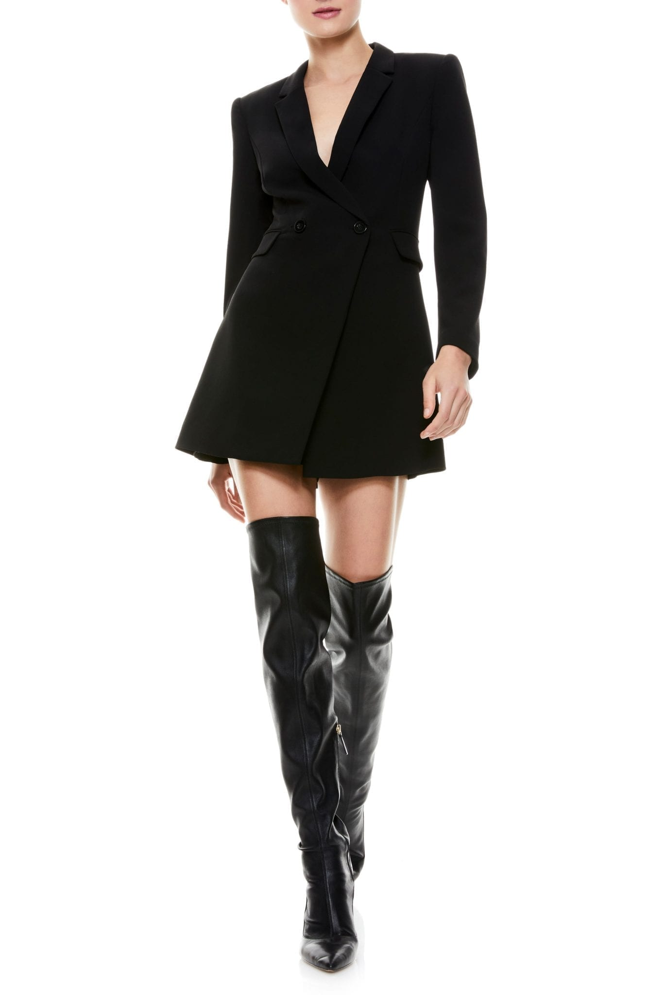 ALICE + OLIVIA Kyrie Tuxedo Long Sleeve Romper Dress