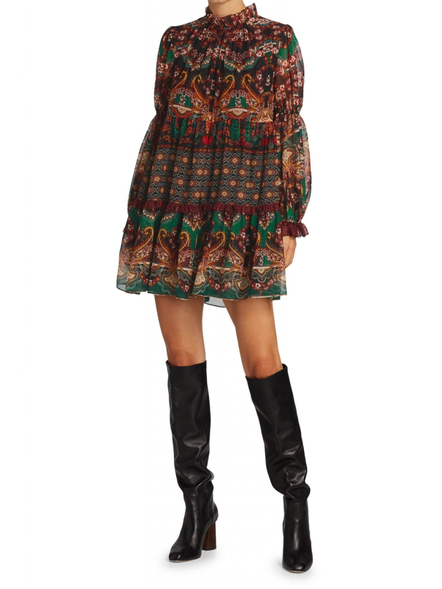 ALICE + OLIVIA Marella Mockneck Paisley Shift Dress