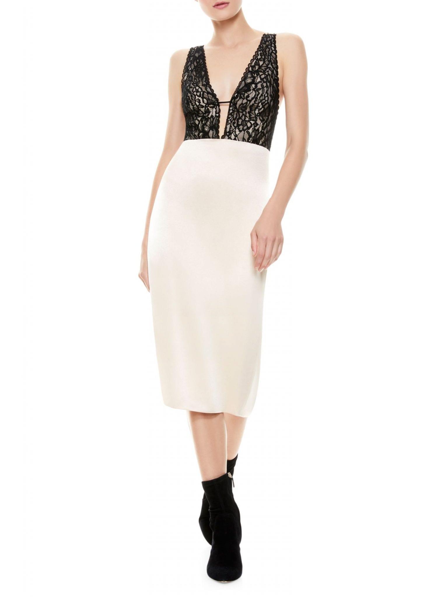 ALICE + OLIVIA Vanita Lace Combo Midi Sheath Dress