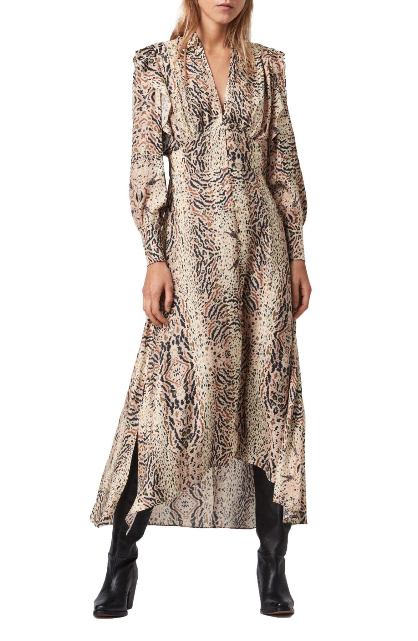 ALLSAINTS Lia Arietta Mixed Print Long Sleeve Cotton Blend Shirt Dress