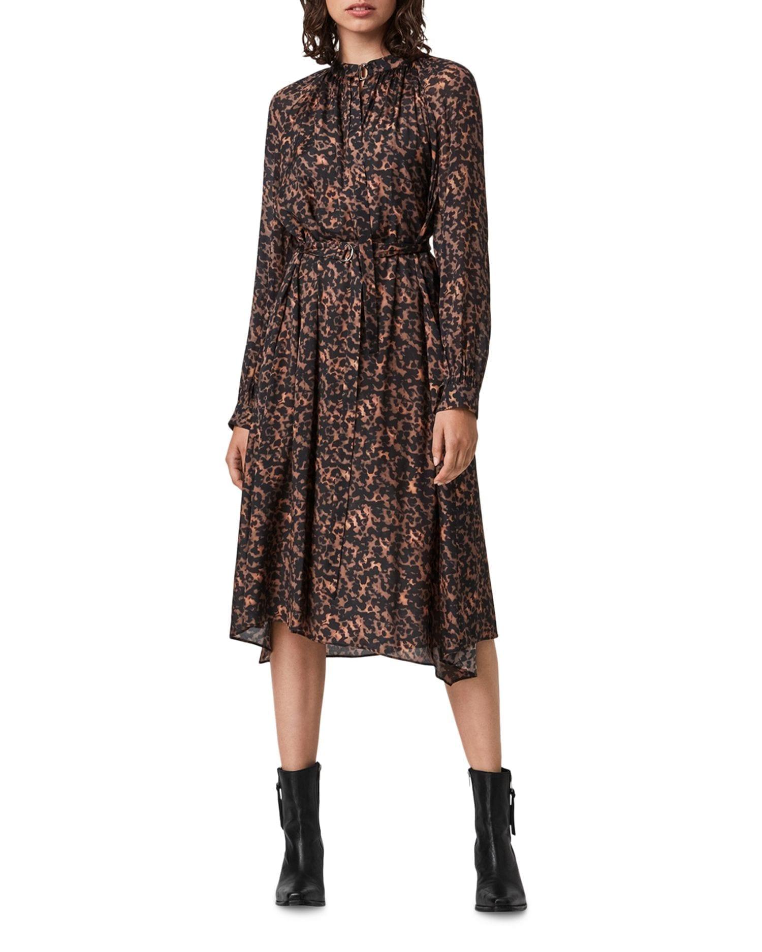 ALLSAINTS Nina Torto Printed Belted Dress