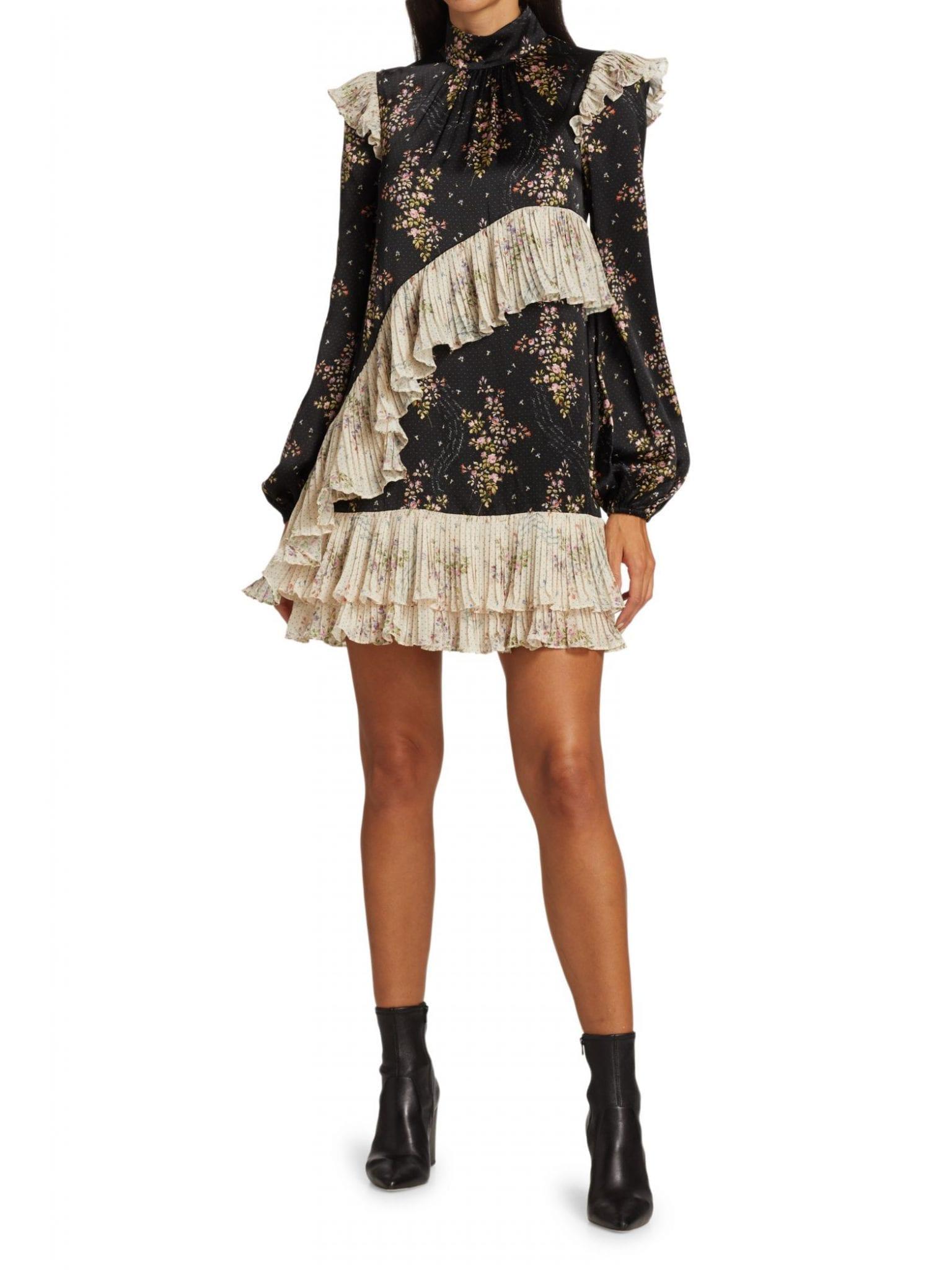 AMUR Devin Ruffle-Trim Silk Dress