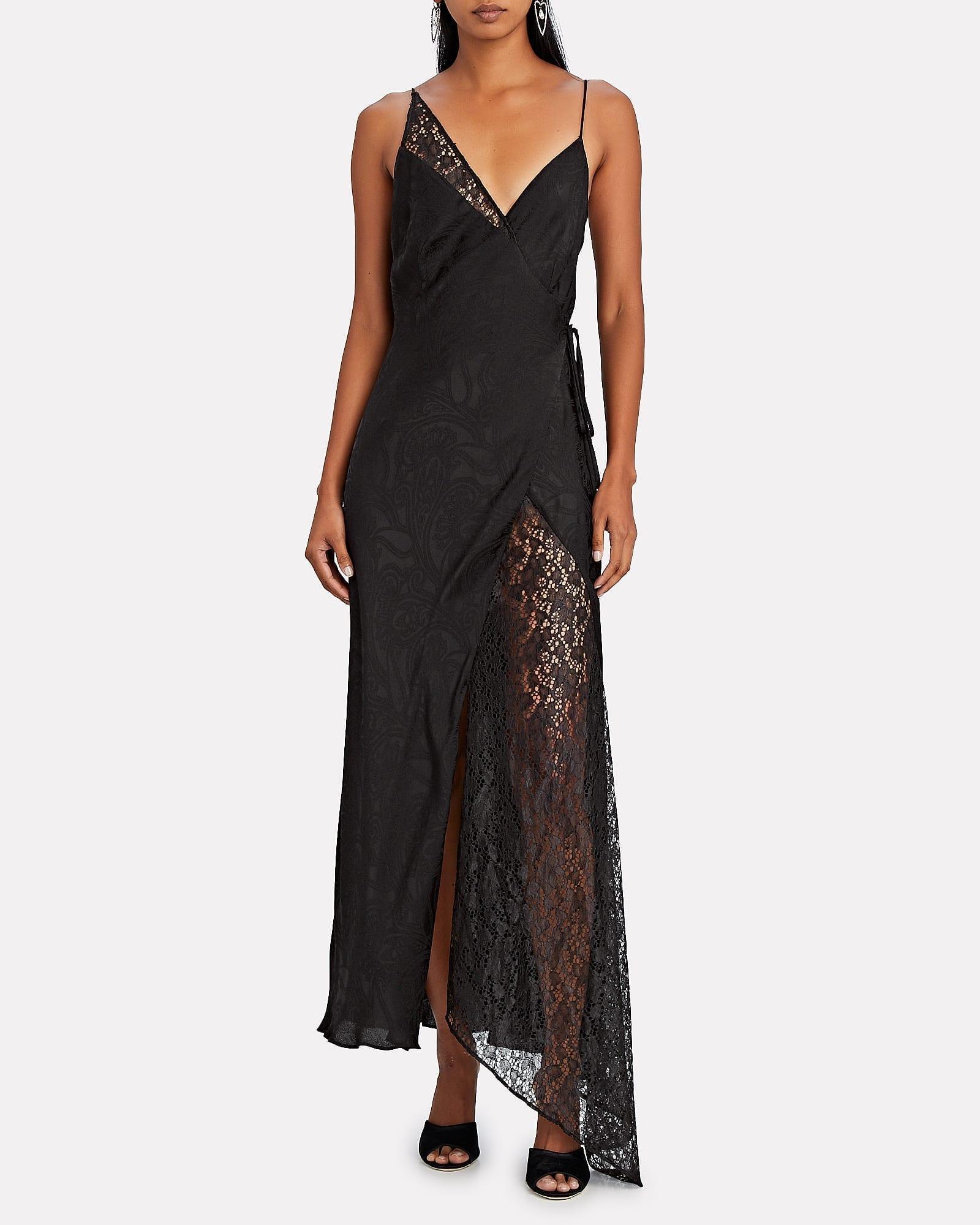 AMUR Evonne Asymmetrical Lace Slip Dress