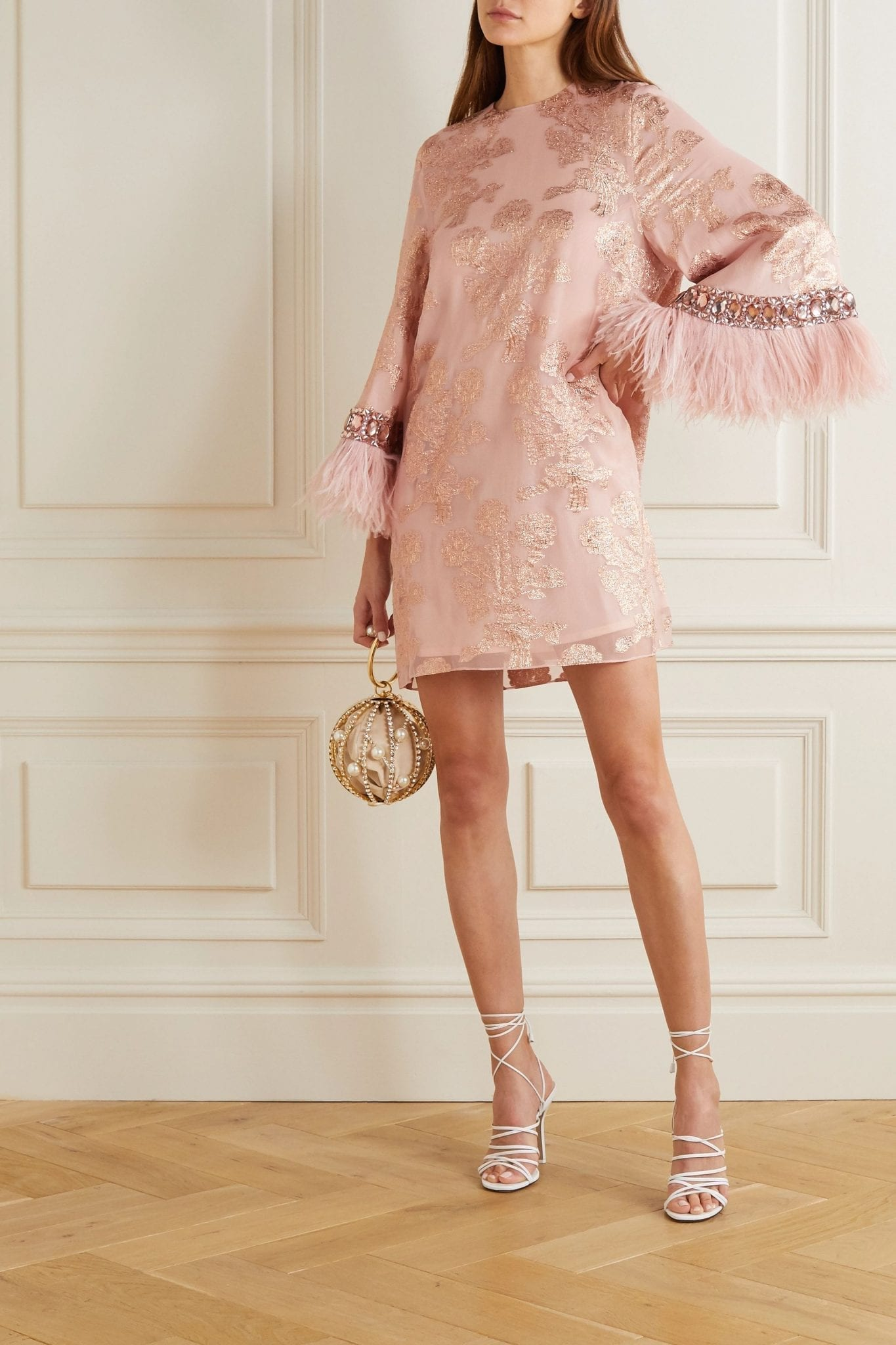 ANDREW GN Feather-trimmed Embellished Metallic Fil Coupé Silk-blend Mini Dress
