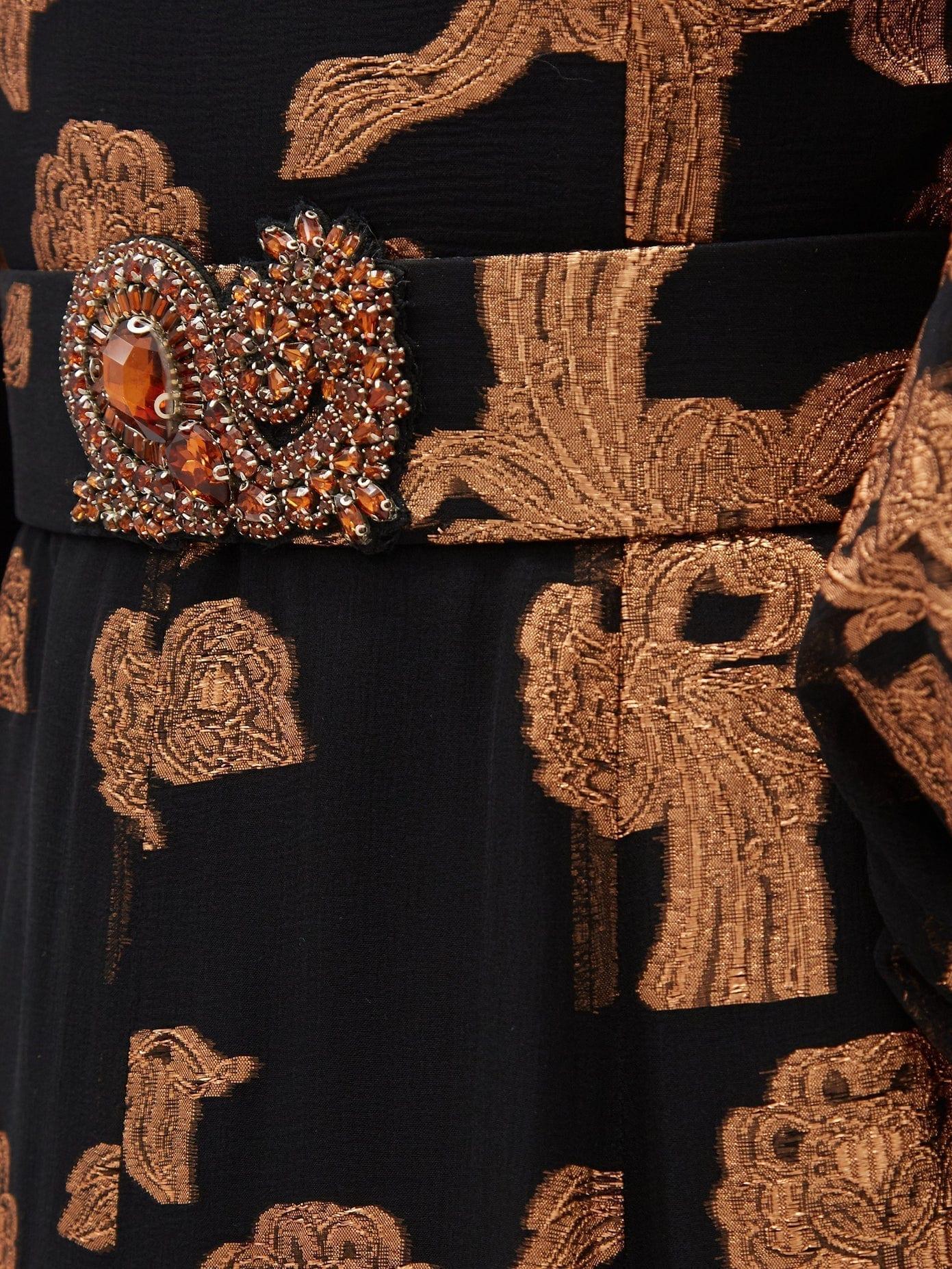 ANDREW GN Metallic Floral Fil-coupé Silk-blend Gown
