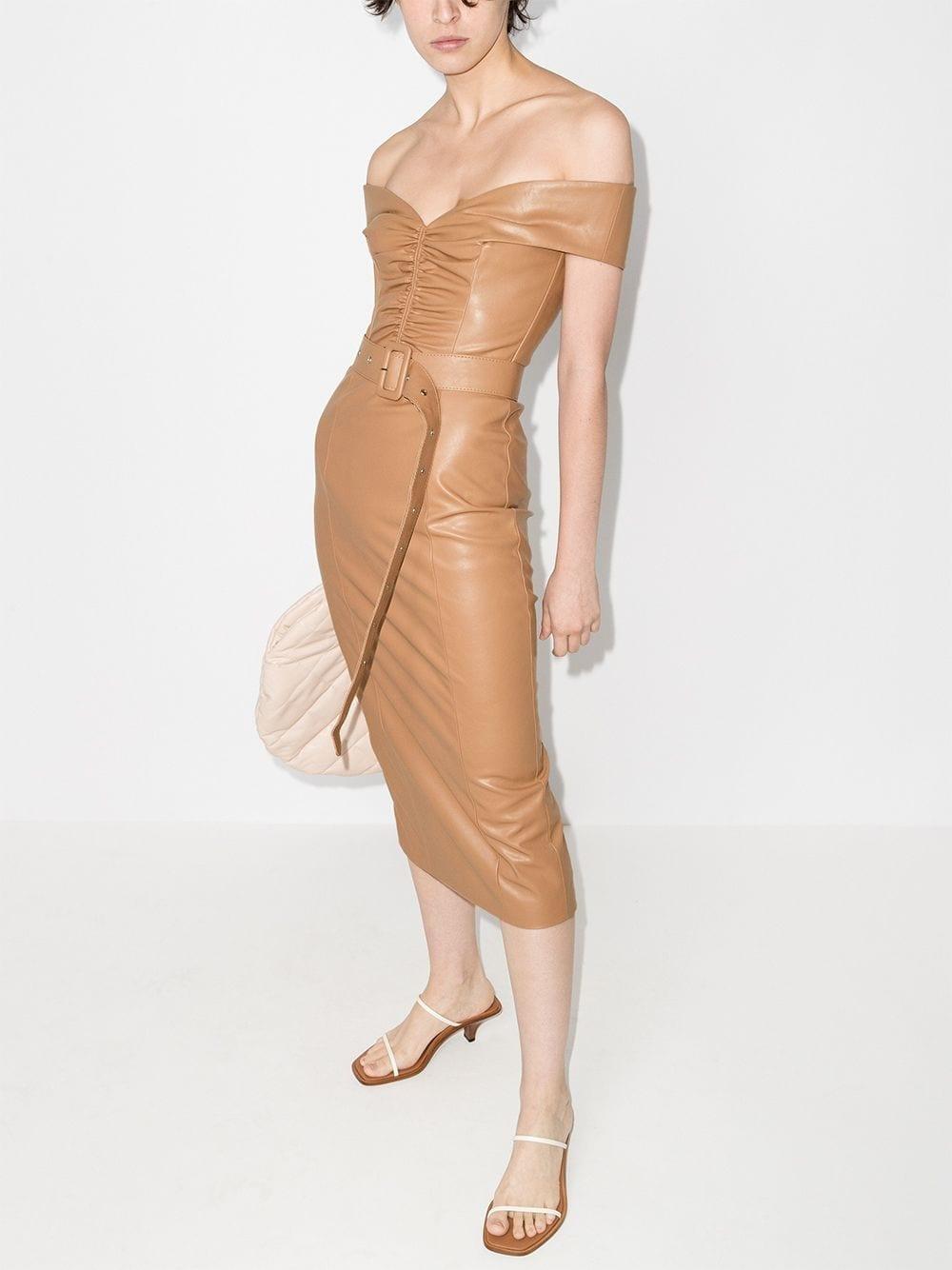 ANOUKI Bardot Belted Mid-length Dress