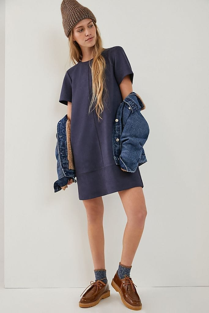 ANTHROPOLOGIE Hayden Sueded Tee Dress