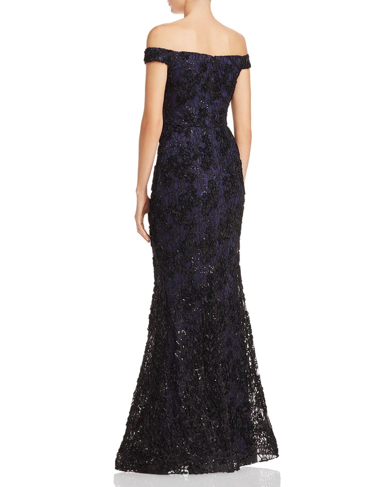 AQUA Off-the-Shoulder Embellished Lace Gown