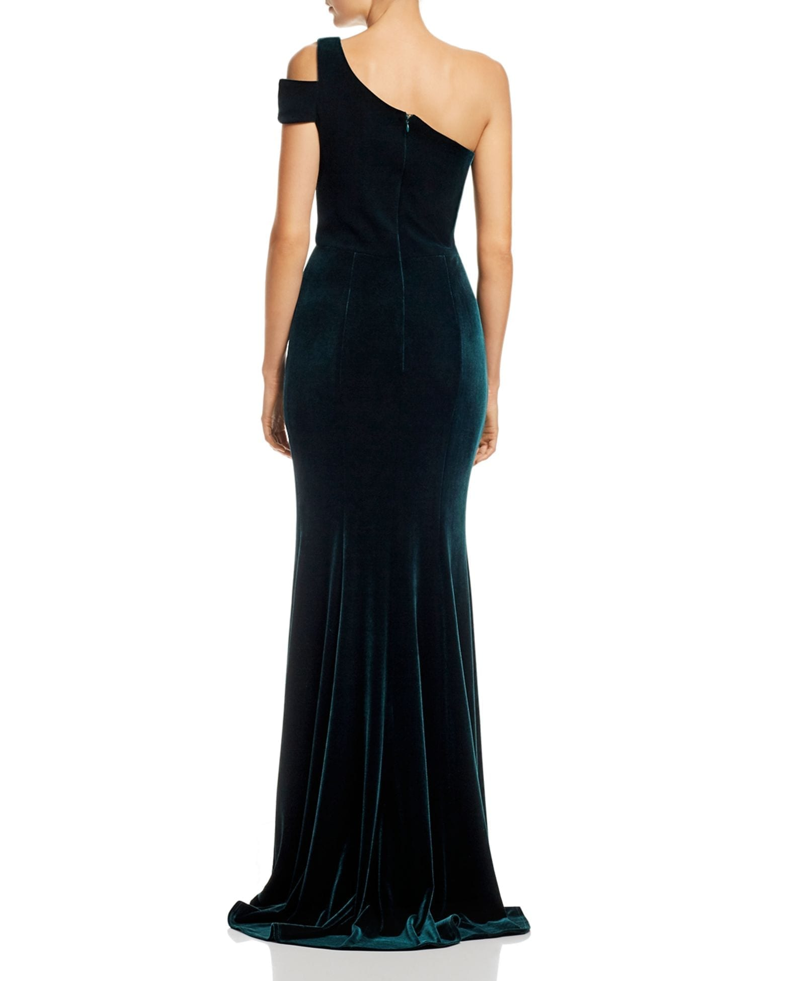 AQUA Velvet One-Shoulder Gown