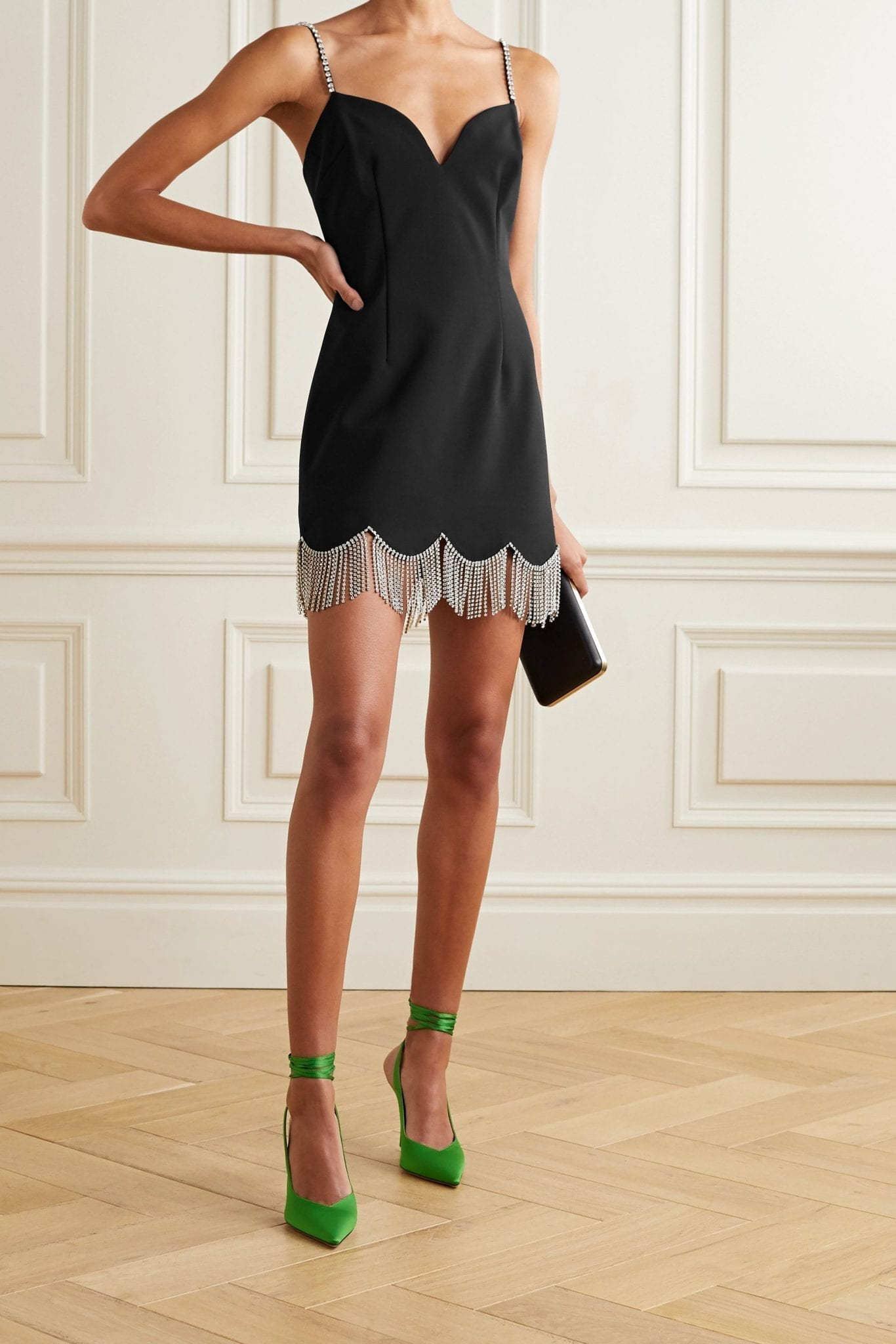 AREA Crystal-embellished Woven Mini Dress