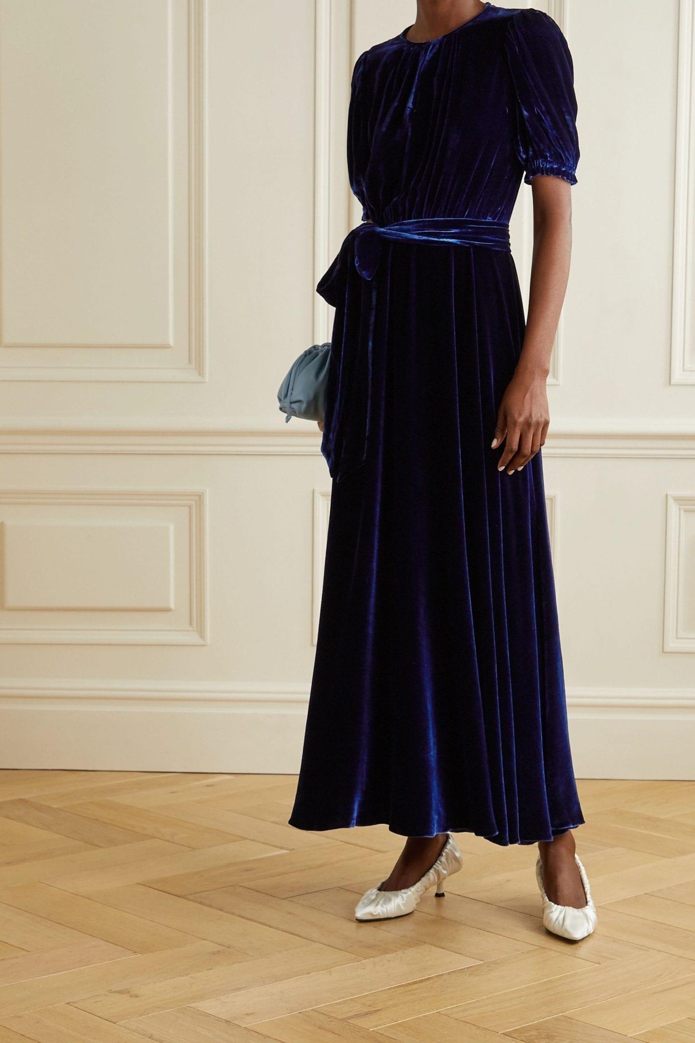 AROSS GIRL X SOLER Brooke Belted Velvet Maxi Dress