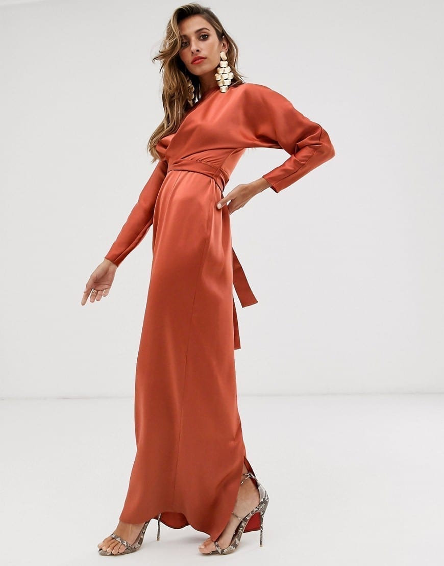 ASOS DESIGN Batwing Sleeve And Wrap Waist Maxi Dress