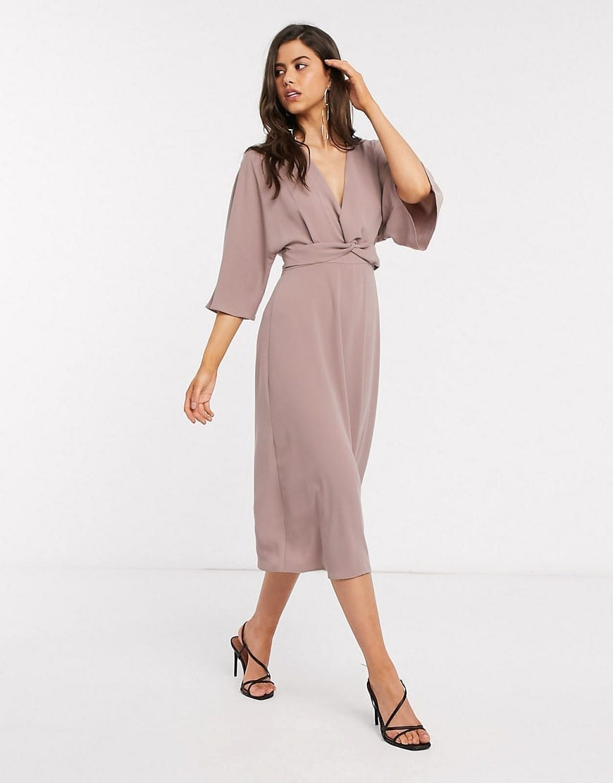 ASOS DESIGN Batwing Twist Front Midi Skater Dress