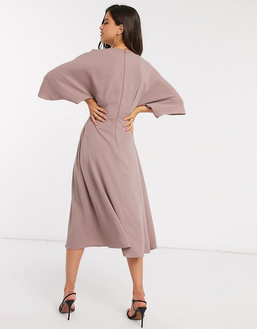 ASOS DESIGN Batwing Twist Front Midi Skater Dress