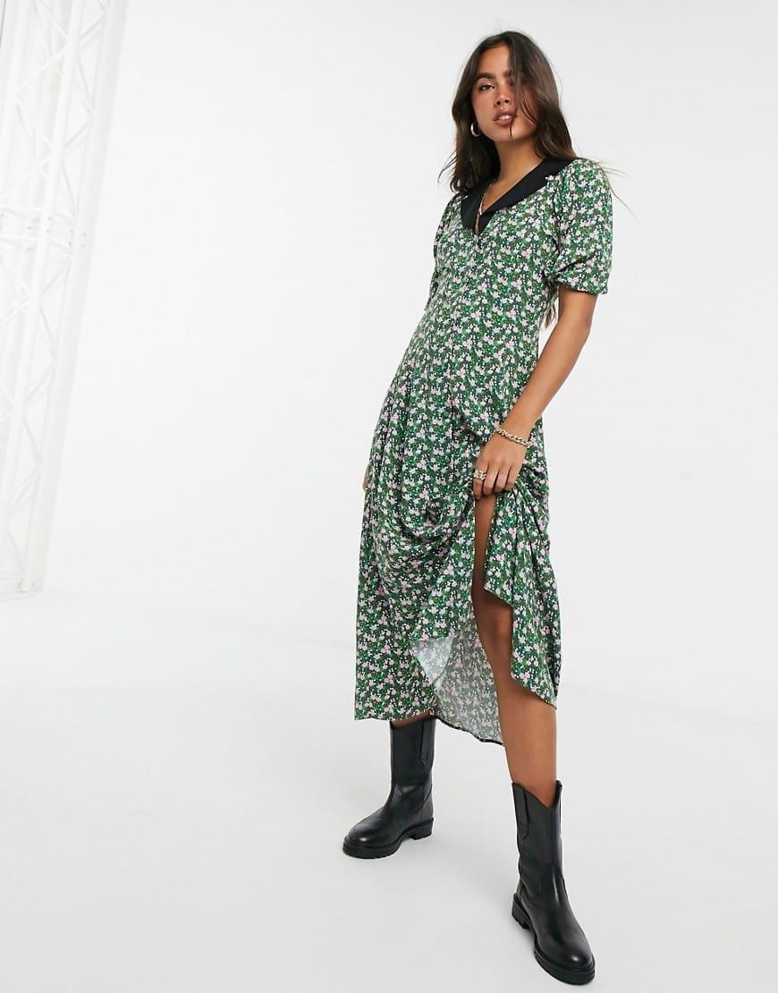 ASOS DESIGN Collared Midi Tea Dress