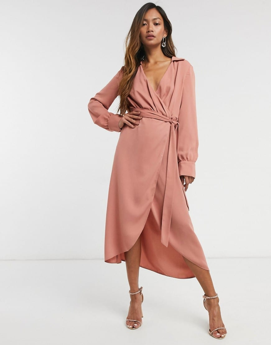 ASOS DESIGN Collared Wrap Midi Dress