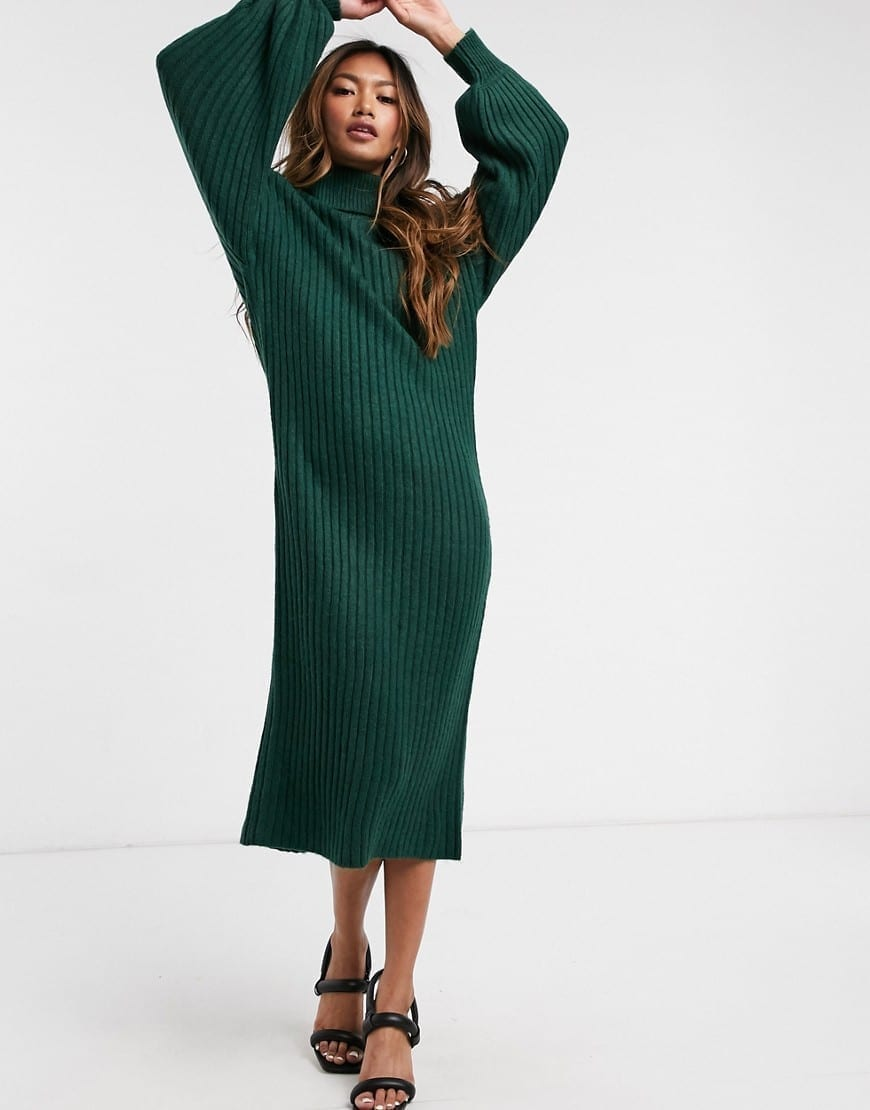 ASOS DESIGN Cowl Neck Midi Rib Dress