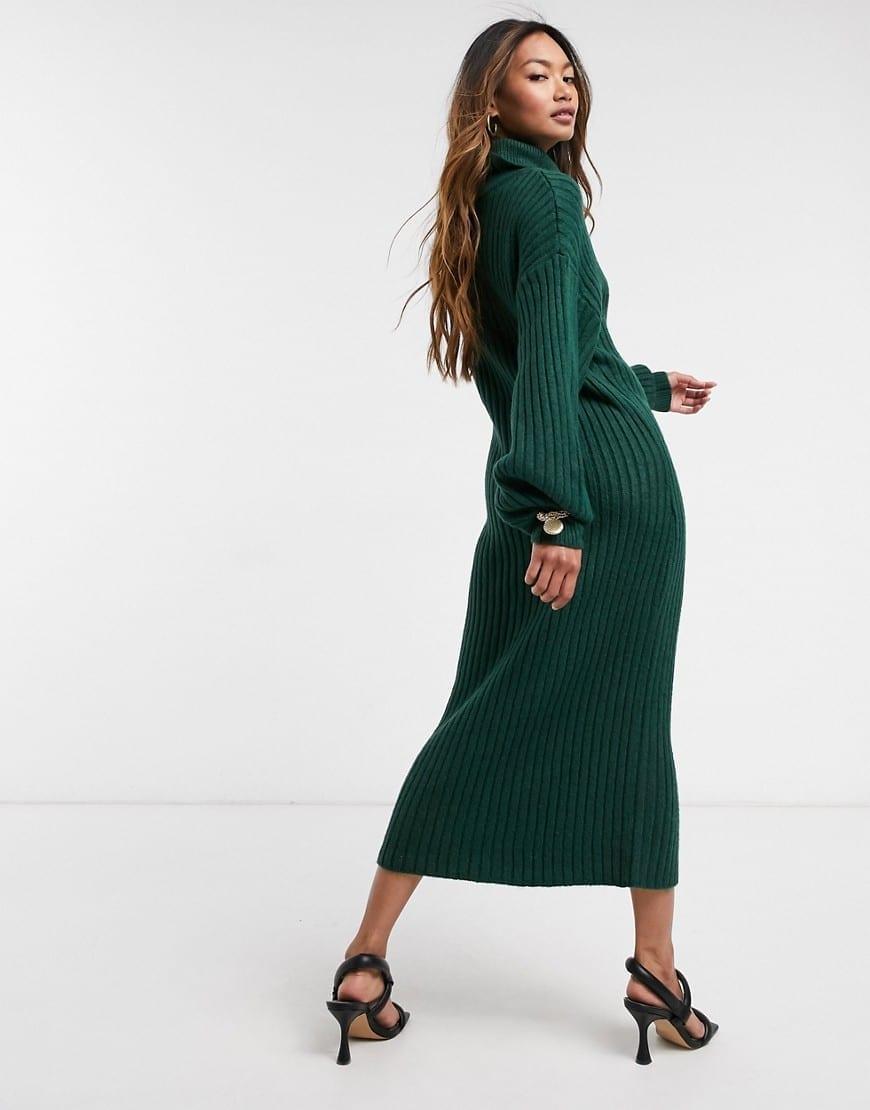 ASOS DESIGN Cowl Neck Midi Rib Dress
