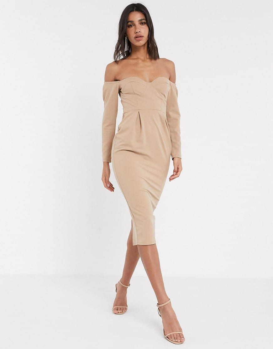 ASOS DESIGN Fallen Shoulder Bust Cup Midi Dress