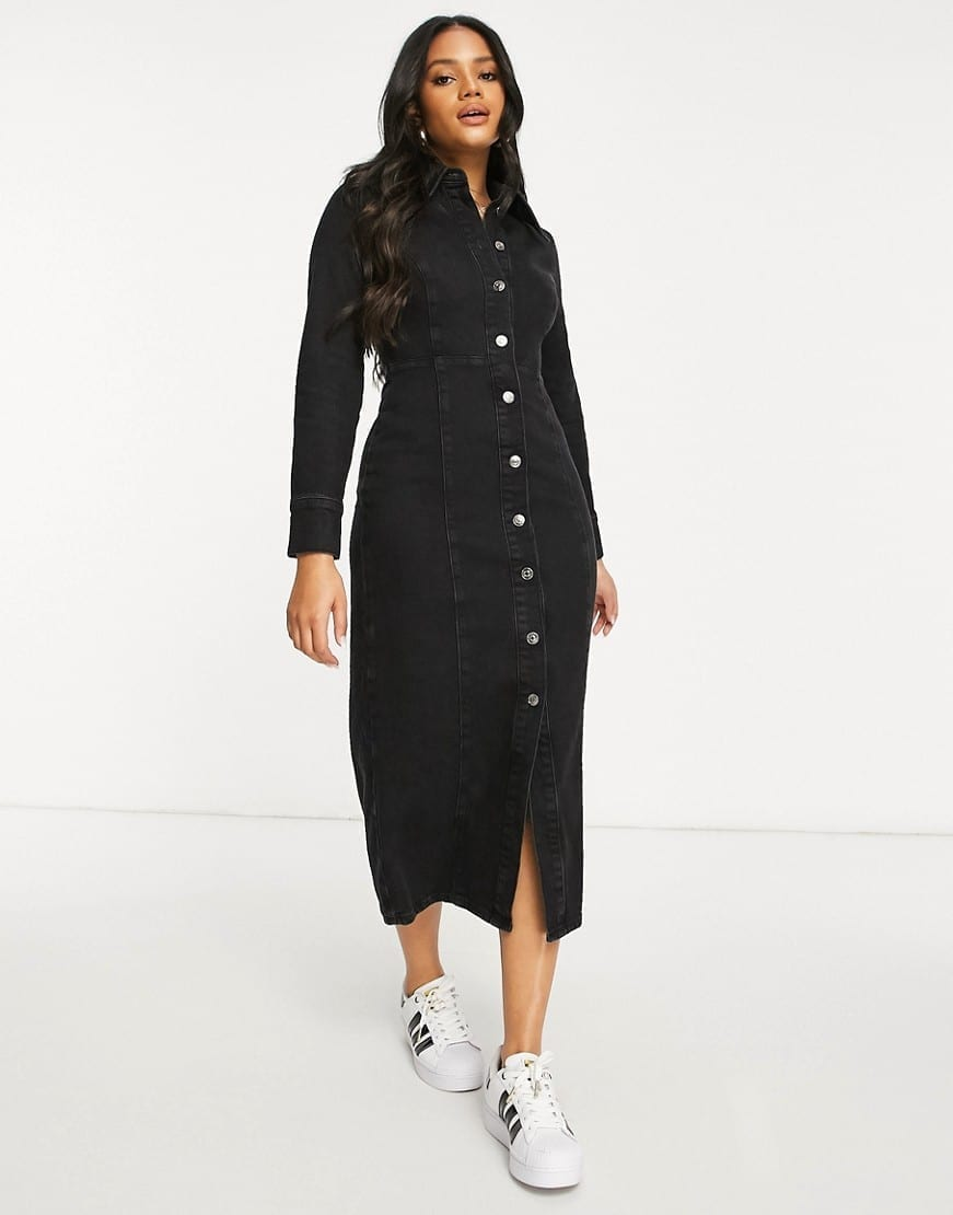 ASOS DESIGN Hourglass Denim Fitted Seamed Midi Dress