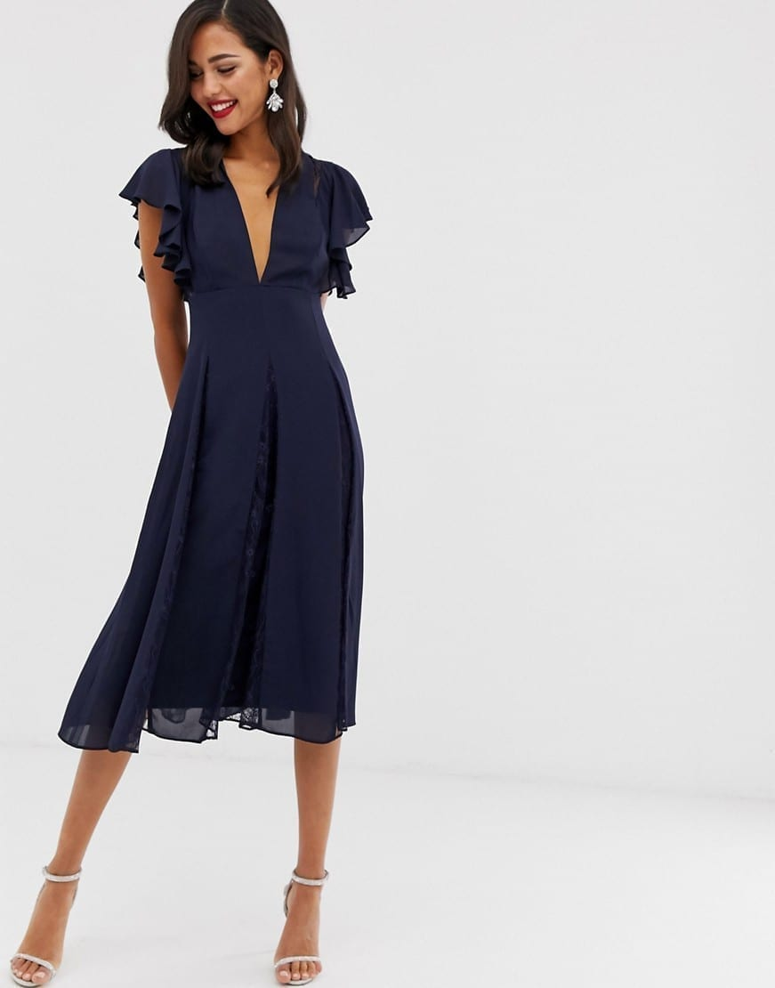 ASOS DESIGN Lace Godet Panels Midi Dress