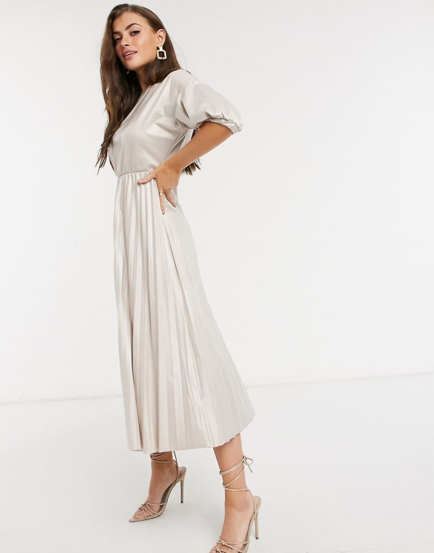 ASOS DESIGN Leather Look Midi Pleated Dress