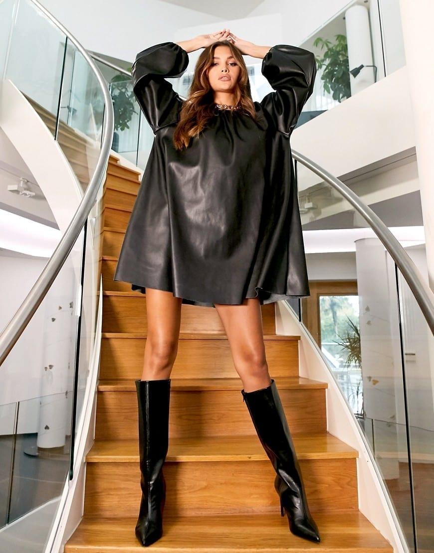 ASOS DESIGN Leather-look Swing Mini Dress