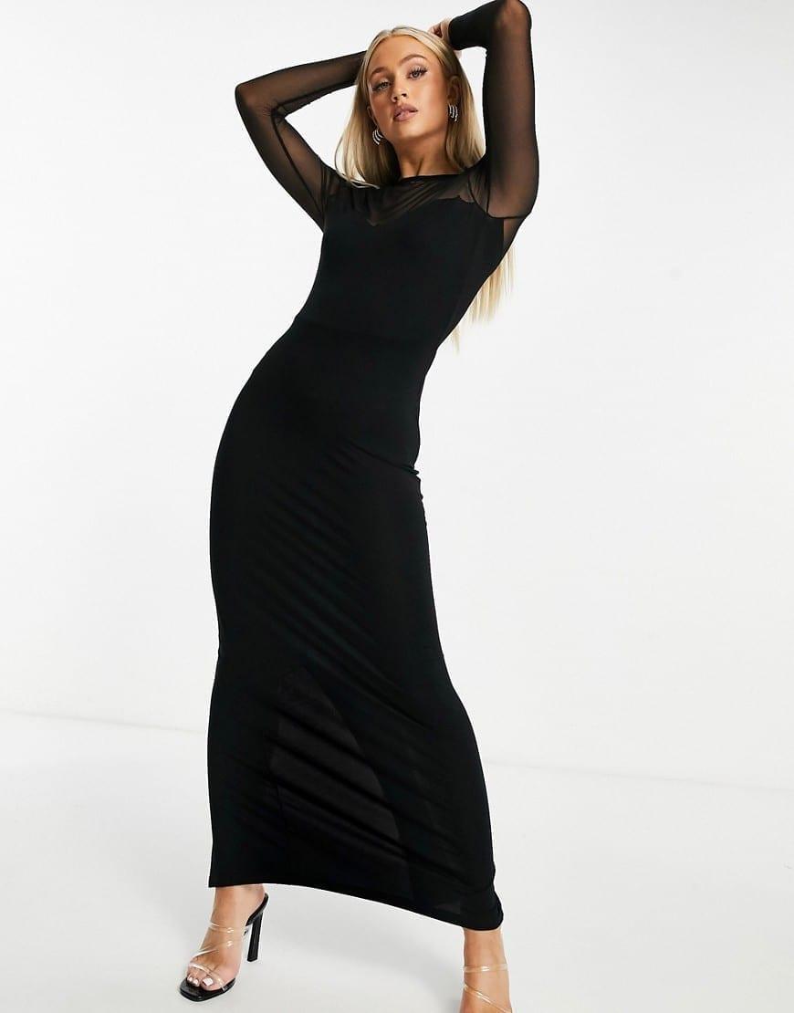 ASOS DESIGN Long Sleeve Mesh Yoke Maxi Dress